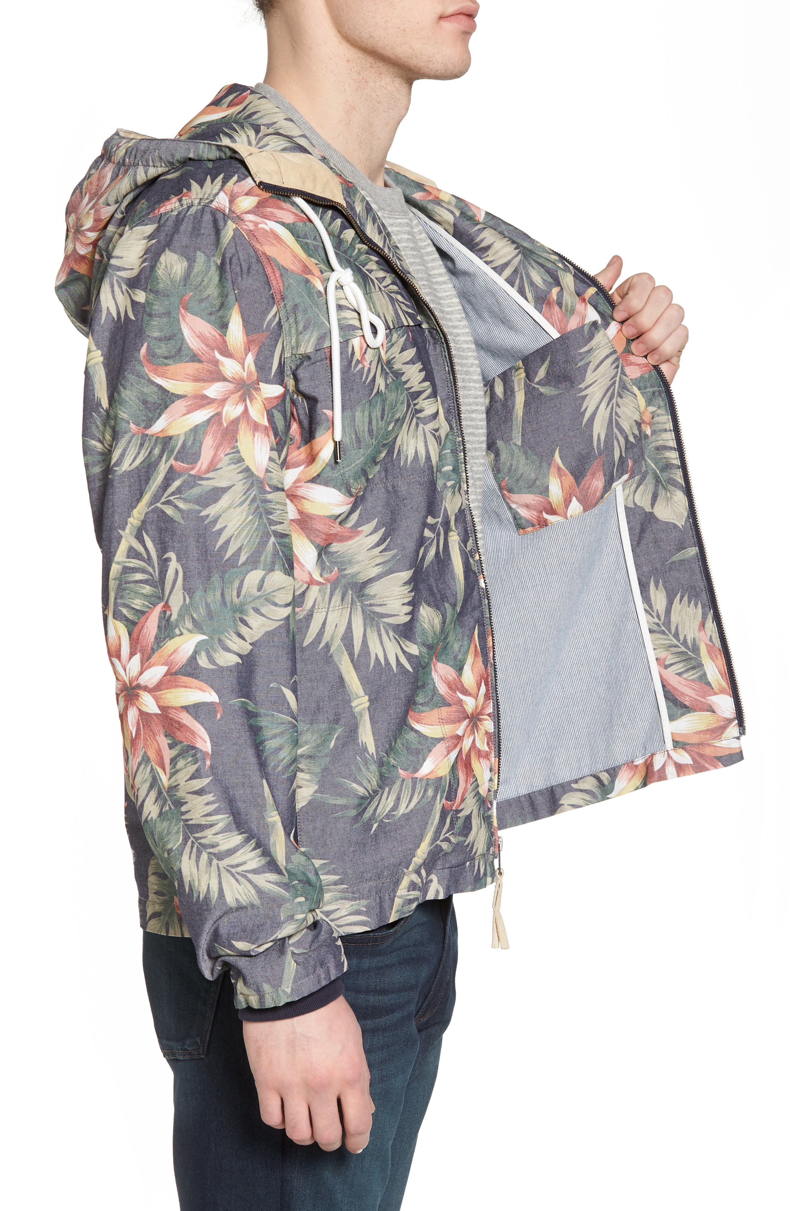 Print Hooded Beach Jacket,                             Alternate thumbnail 3, color,                             401