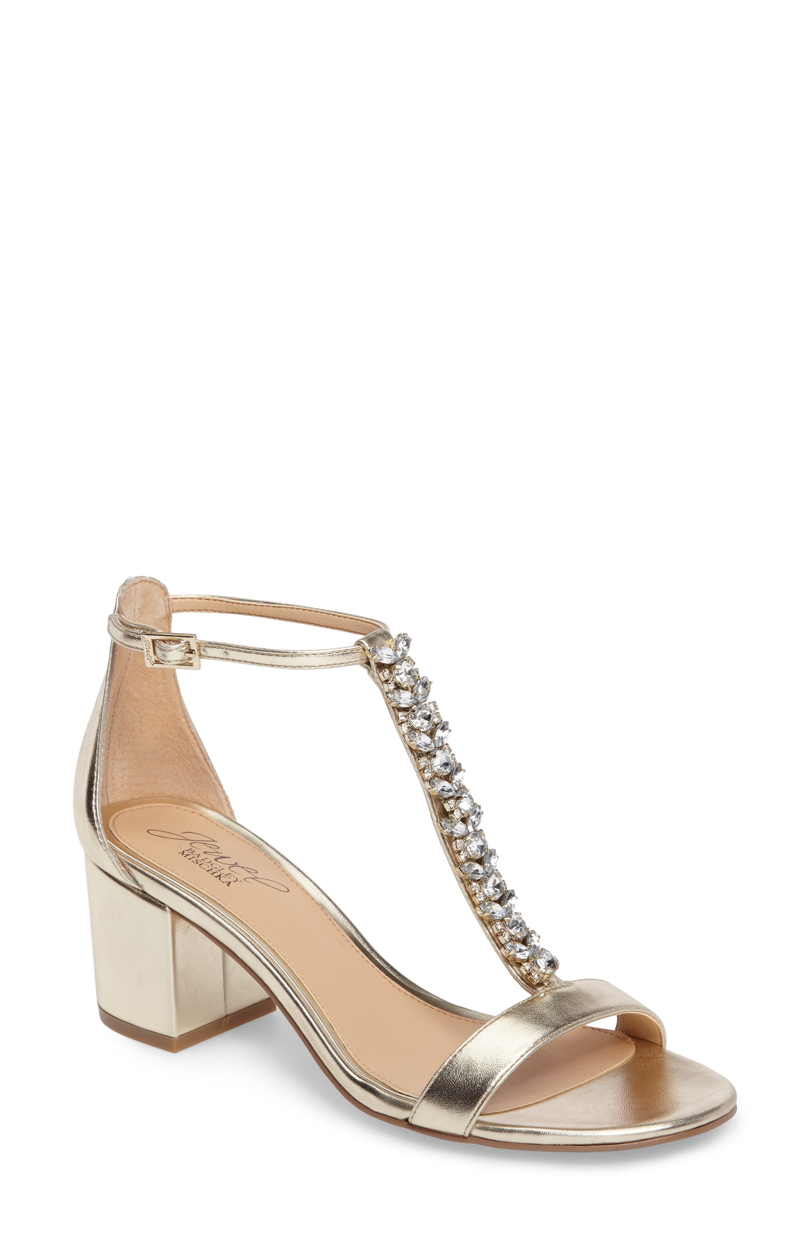 Lindsey Embellished T-Strap Sandal,                         Main,                         color, GOLD LEATHER