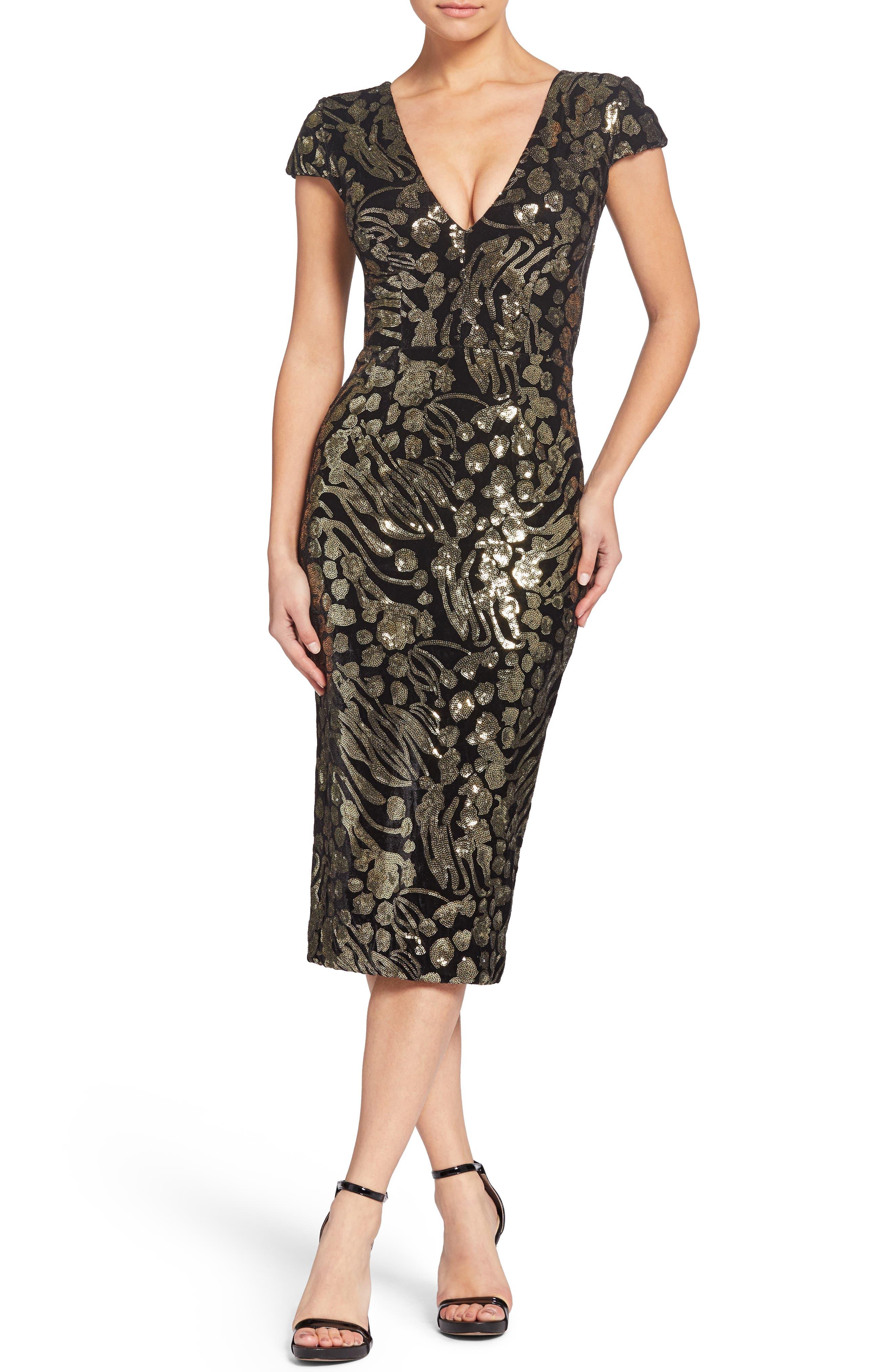 DRESS THE POPULATION Allison Abstract Floral & Velvet Dress in Black/ Gold