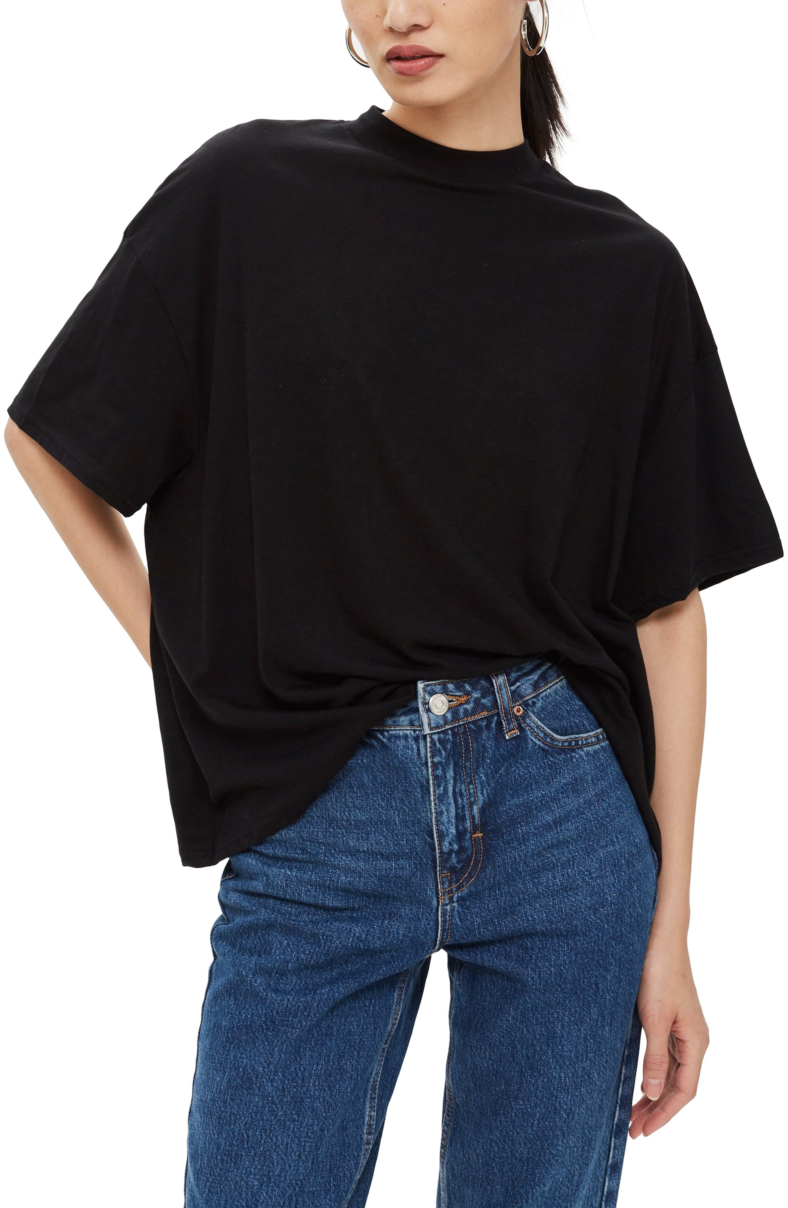High Neck Tee,                         Main,                         color, BLACK