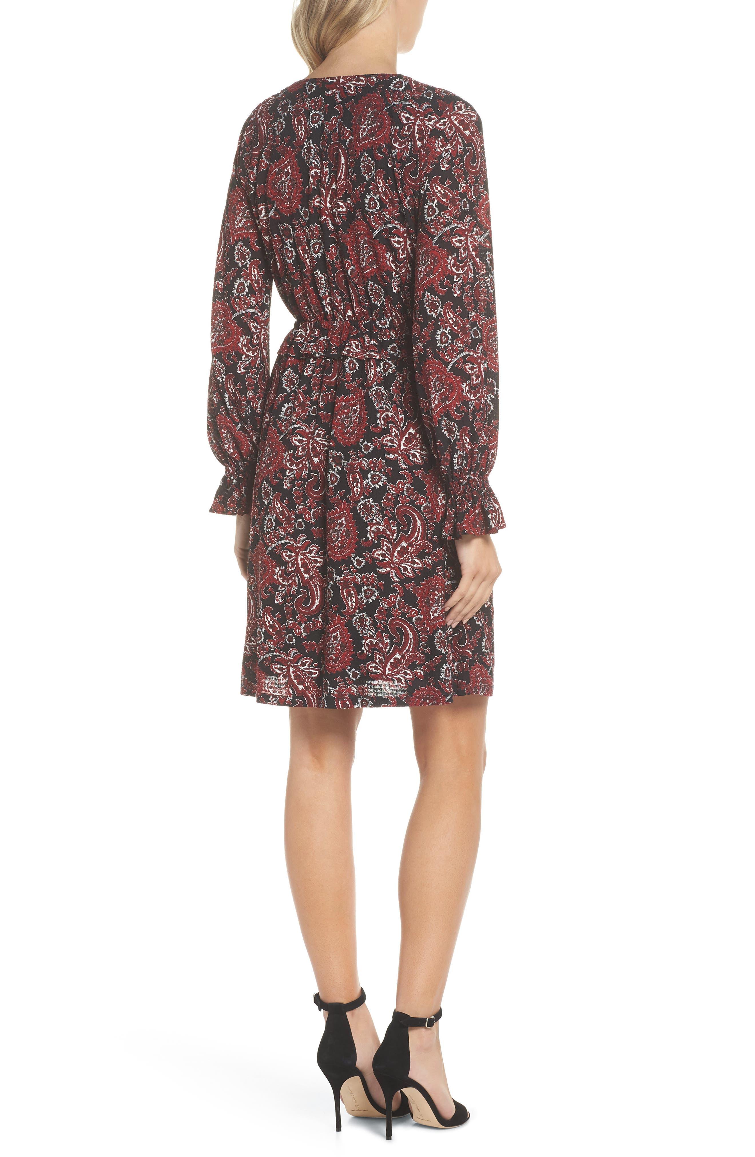 Shirred Ruffle Sleeve Dress,                             Alternate thumbnail 2, color,                             BLACK/ MAROON