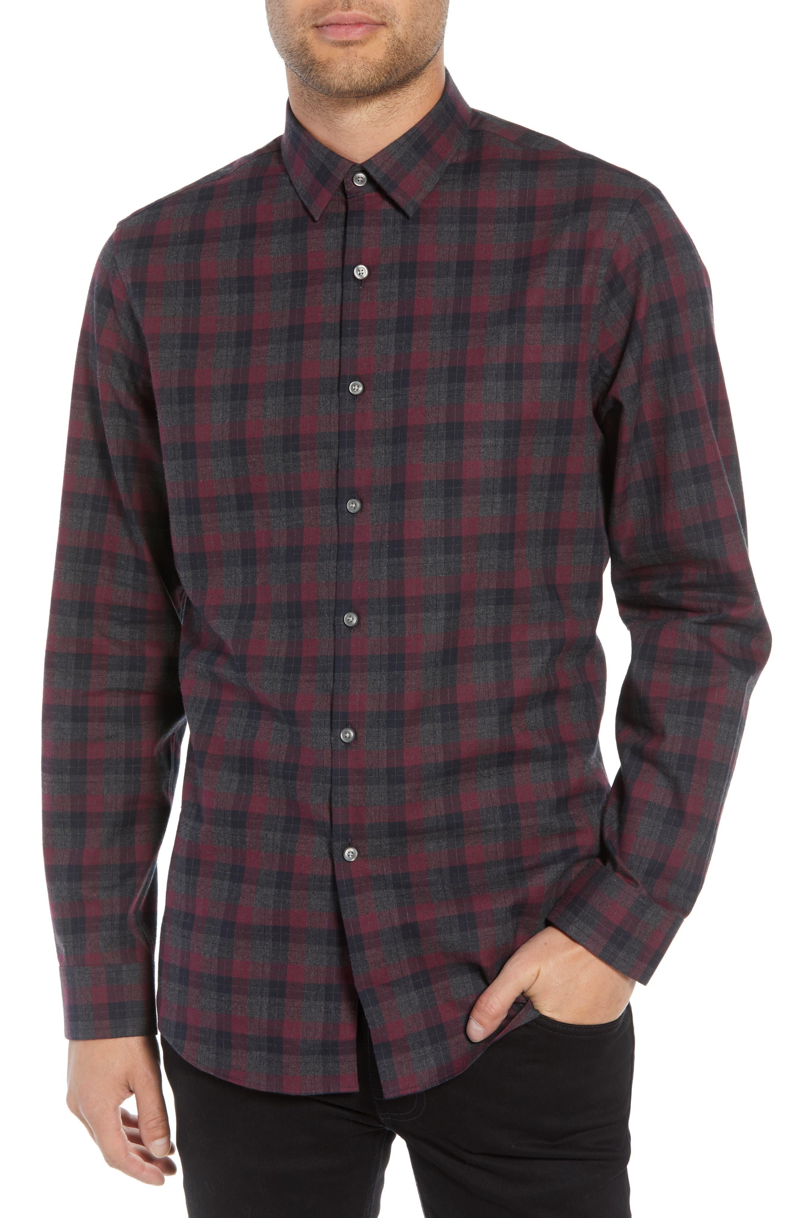 Check Flannel Shirt,                             Main thumbnail 1, color,                             BURGUNDY ROYALE GREY CHECK