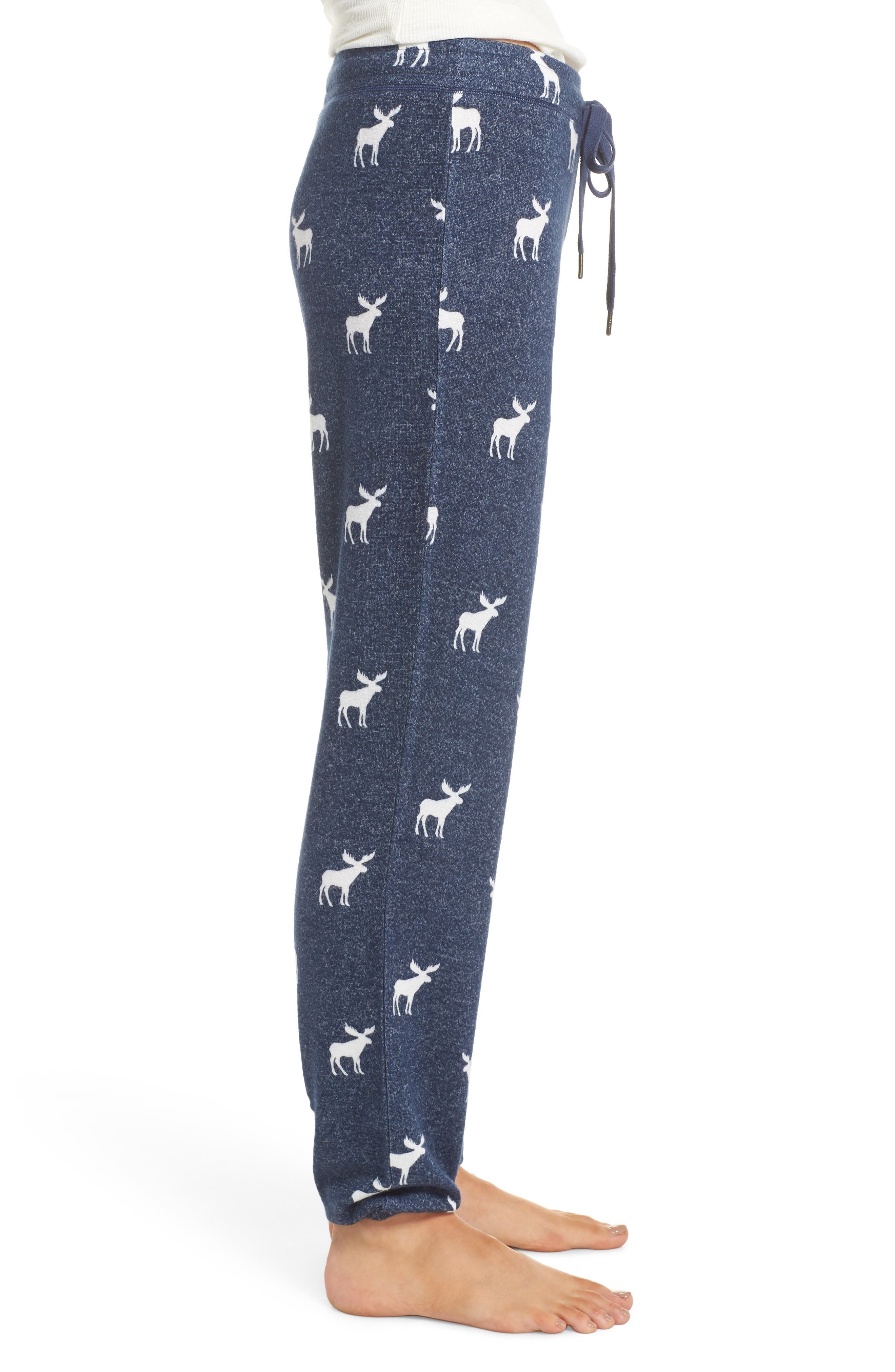 Moose Print Banded Pajama Pants,                             Alternate thumbnail 3, color,                             410