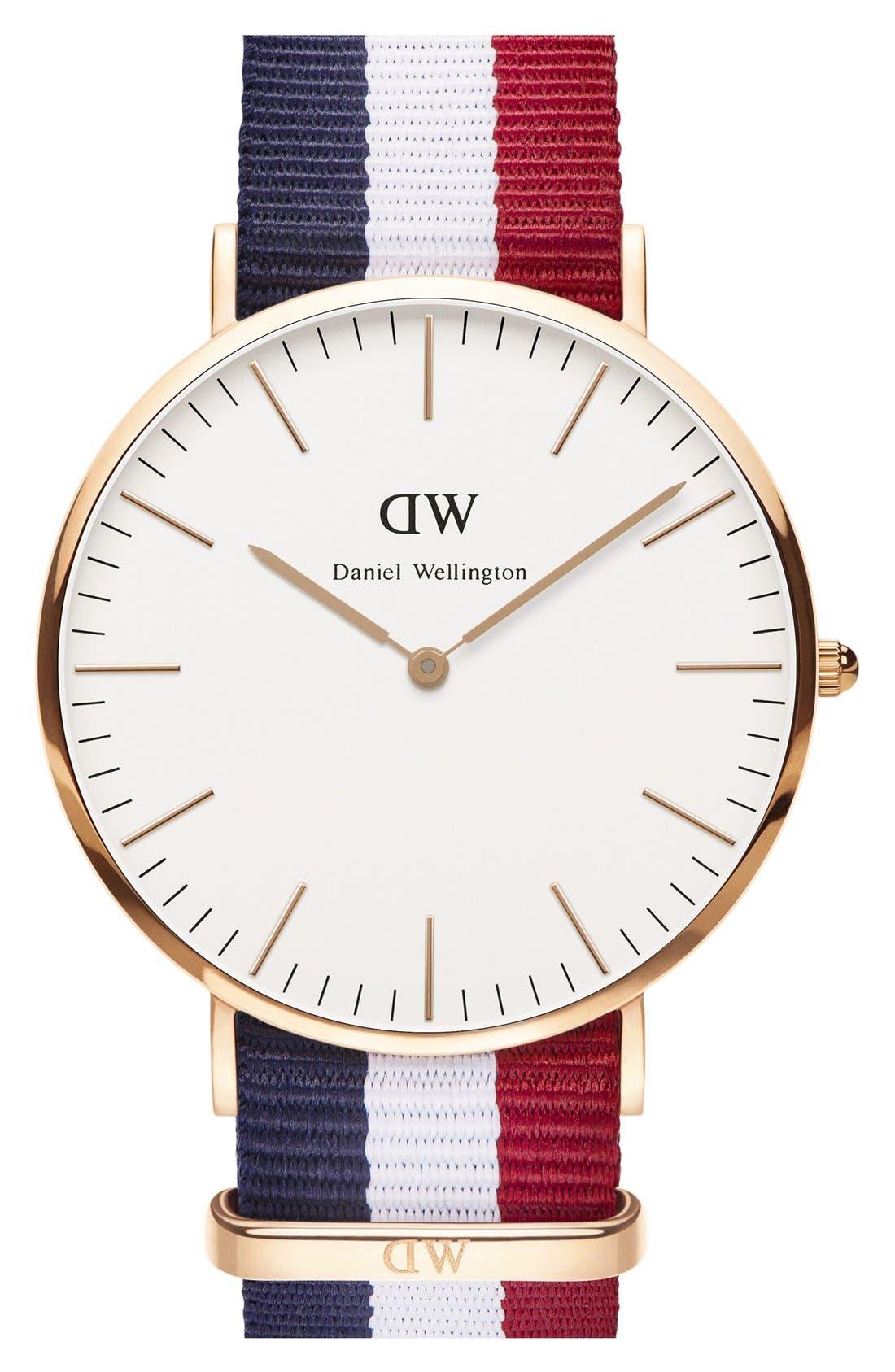 'Classic Cambridge' NATO Strap Watch, 40mm,                         Main,                         color, 100