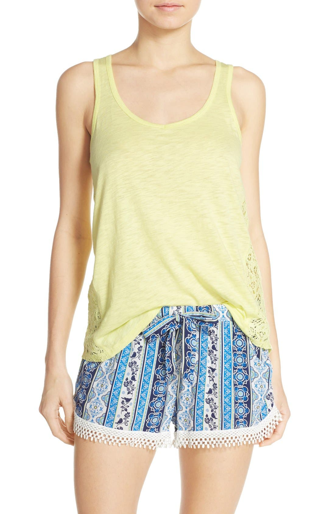 Lace Inset Jersey Tank,                             Alternate thumbnail 3, color,                             325