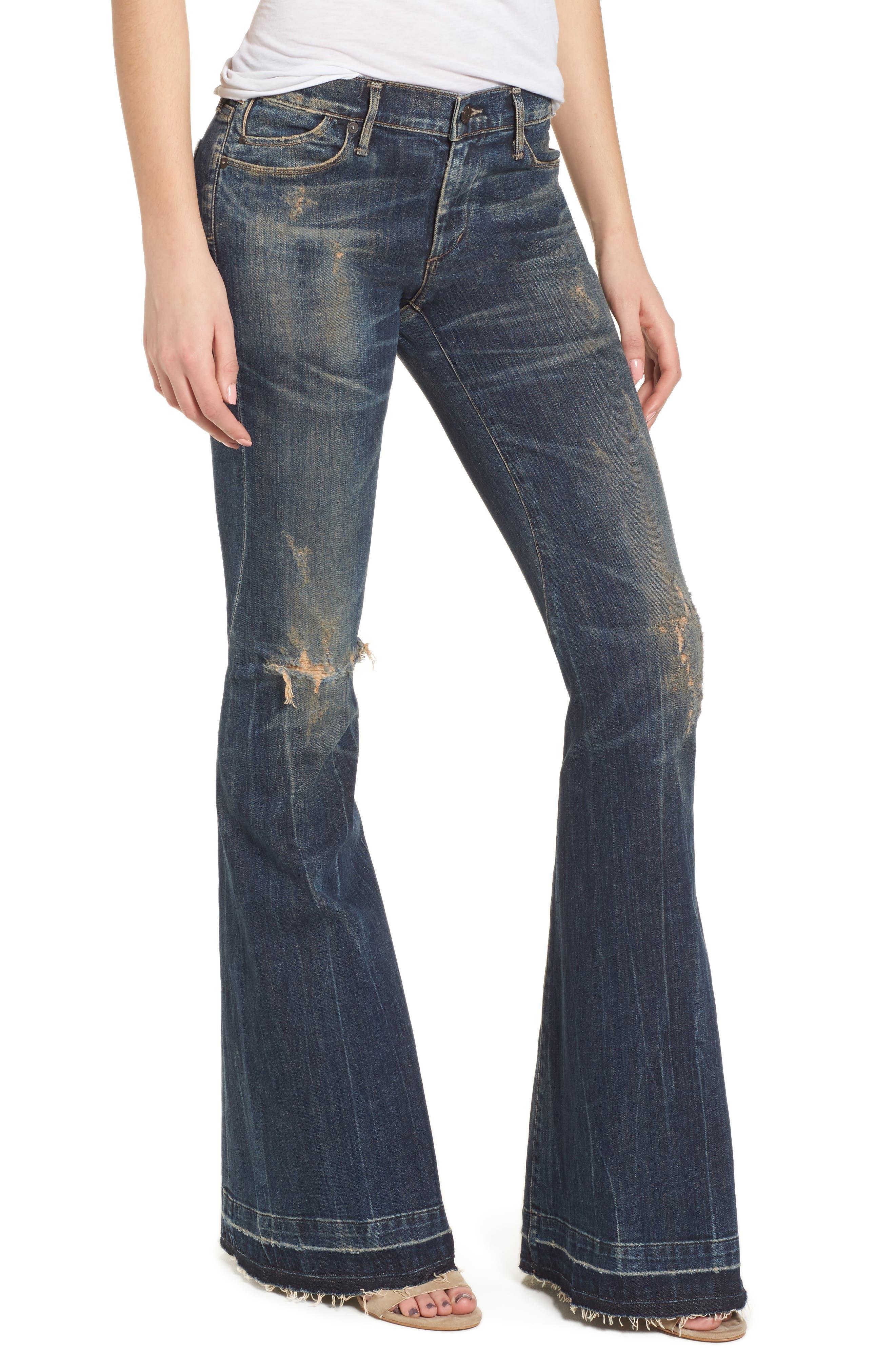 Charlie Flare Leg Jeans,                             Main thumbnail 1, color,                             BLUE GRASS