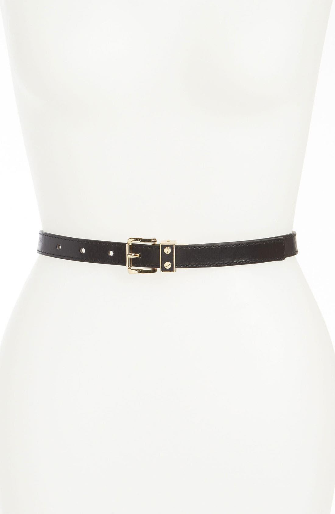 'Screw Buckle' Reversible Leather Belt, Main, color, 001