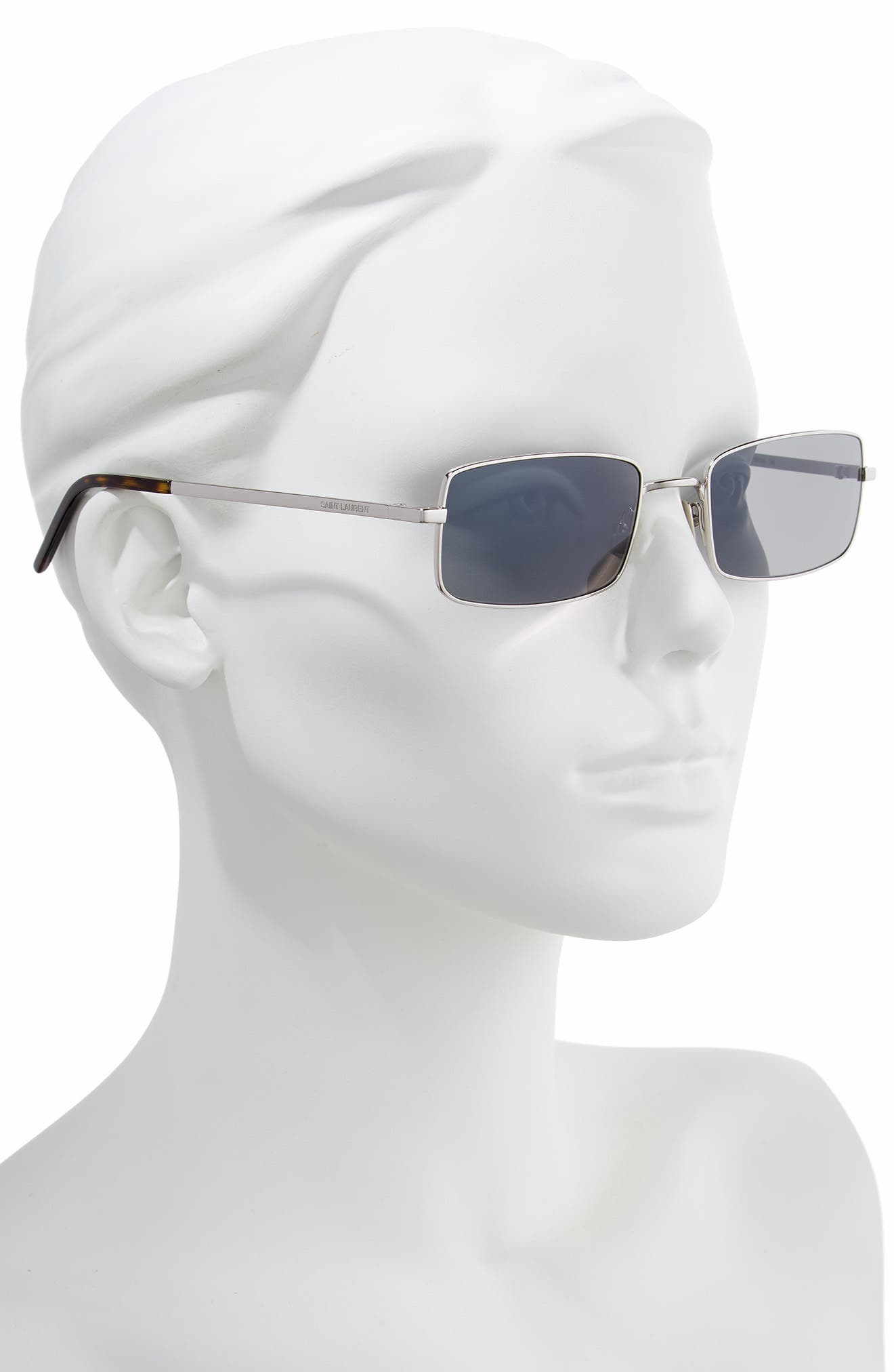 56mm Rectangle Sunglasses,                             Alternate thumbnail 2, color,                             SILVER/ GREY