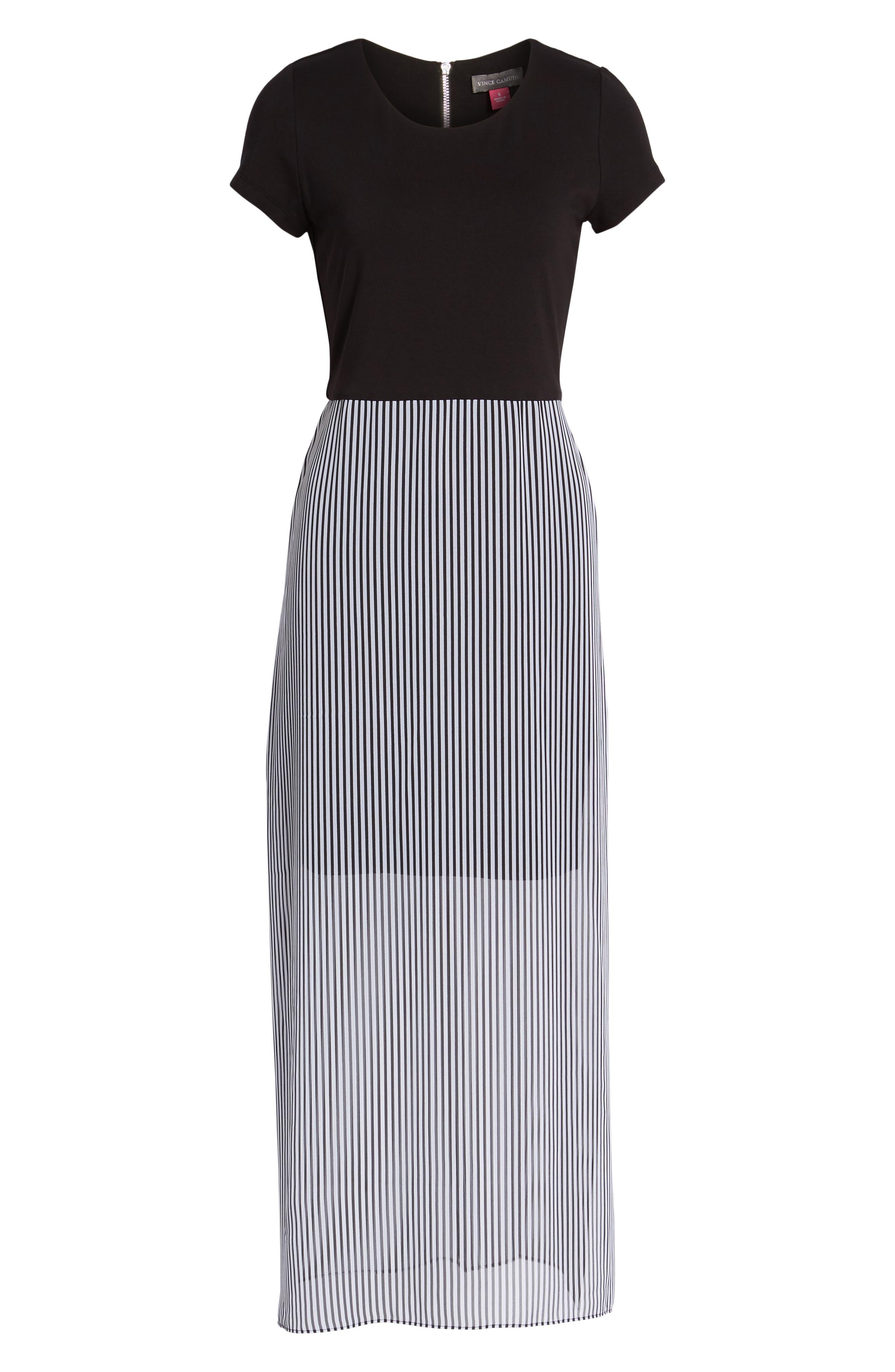 Stripe Chiffon Overlay Maxi Dress,                             Alternate thumbnail 7, color,                             RICH BLACK