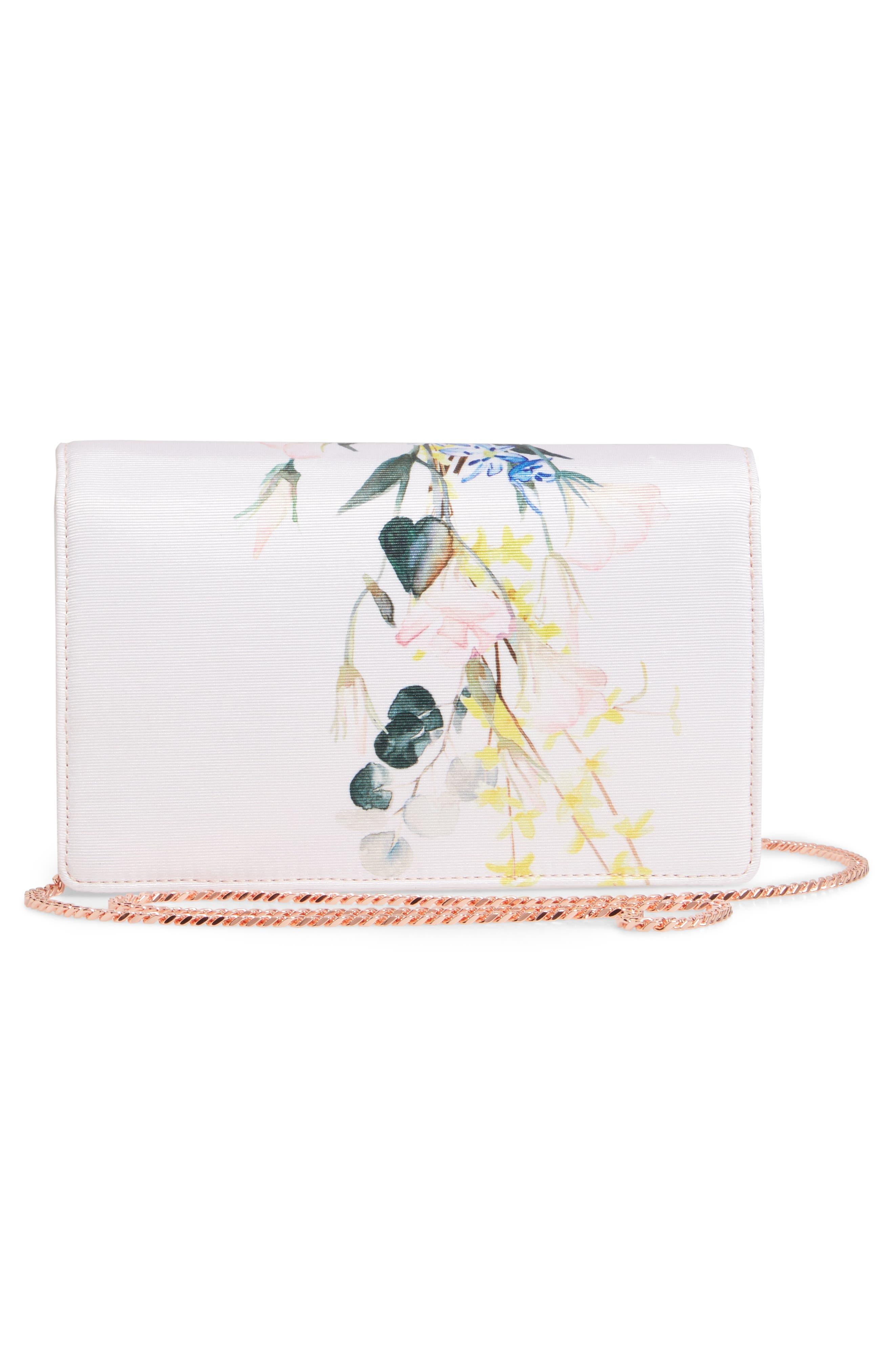 Hania Elegant Bow Evening Bag,                             Alternate thumbnail 3, color,                             NUDE PINK