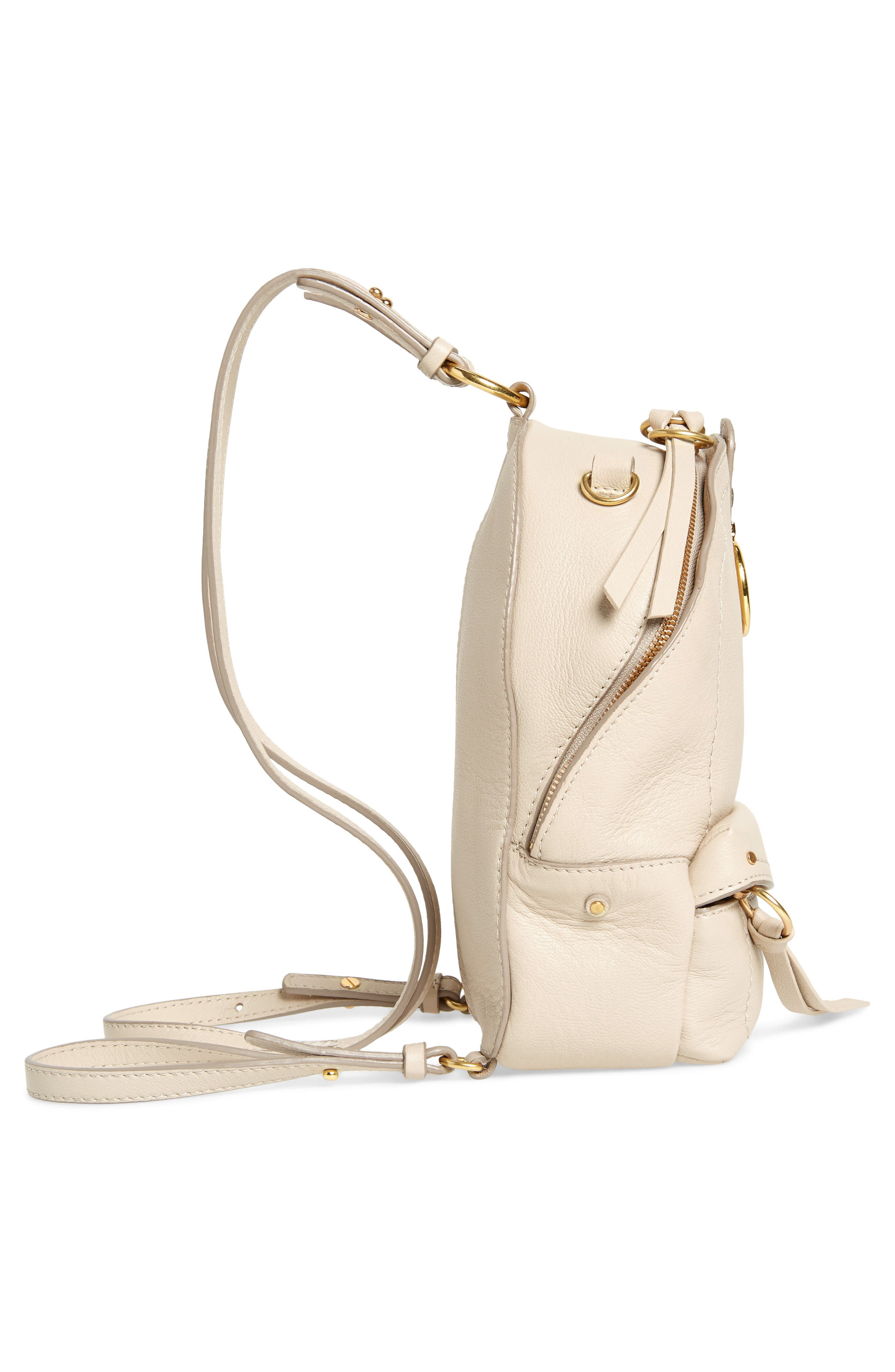 Mini Mino Leather Backpack,                             Alternate thumbnail 6, color,                             CEMENT BEIGE
