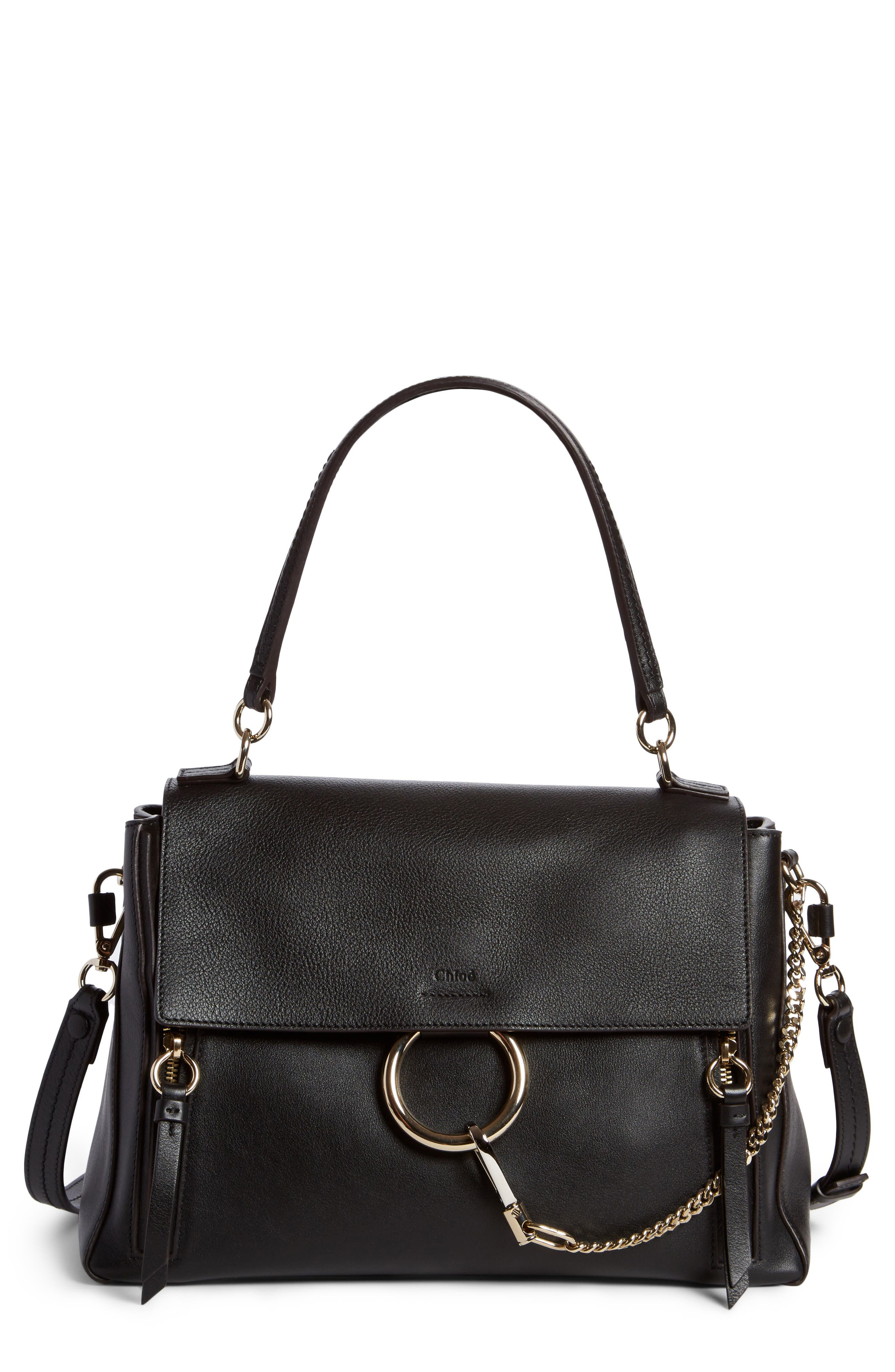 Small Faye Day Leather Shoulder Bag,                         Main,                         color, BLACK