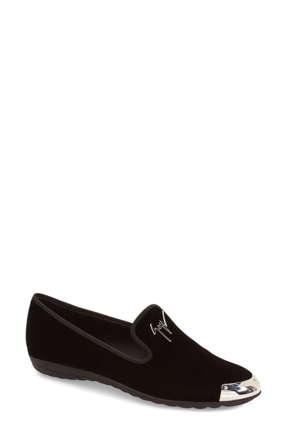'Dalila' Metallic Toe Velour Loafer,                         Main,                         color,