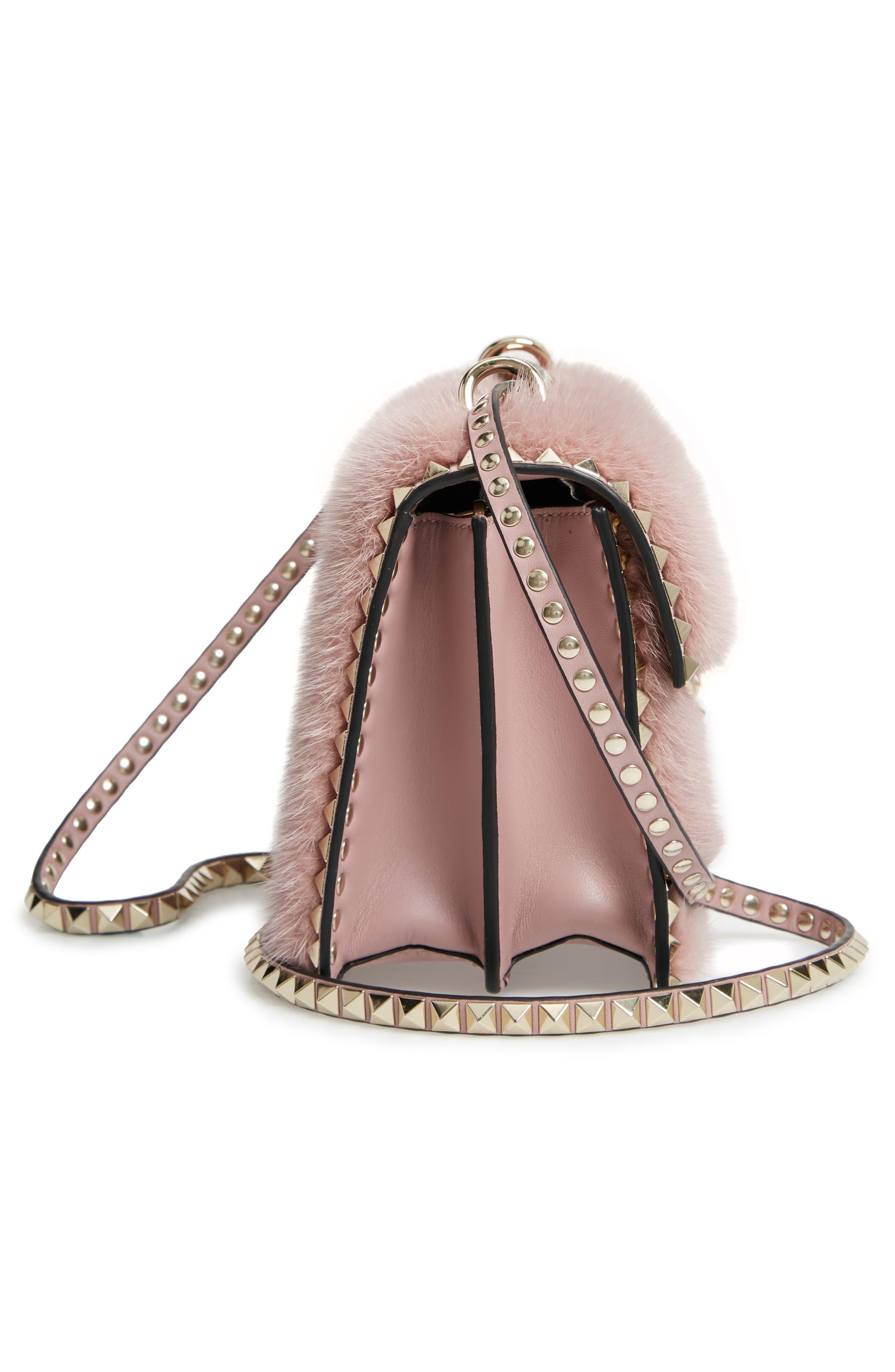 Small Rockstud Genuine Mink Fur Shoulder Bag,                             Alternate thumbnail 5, color,                             LIP