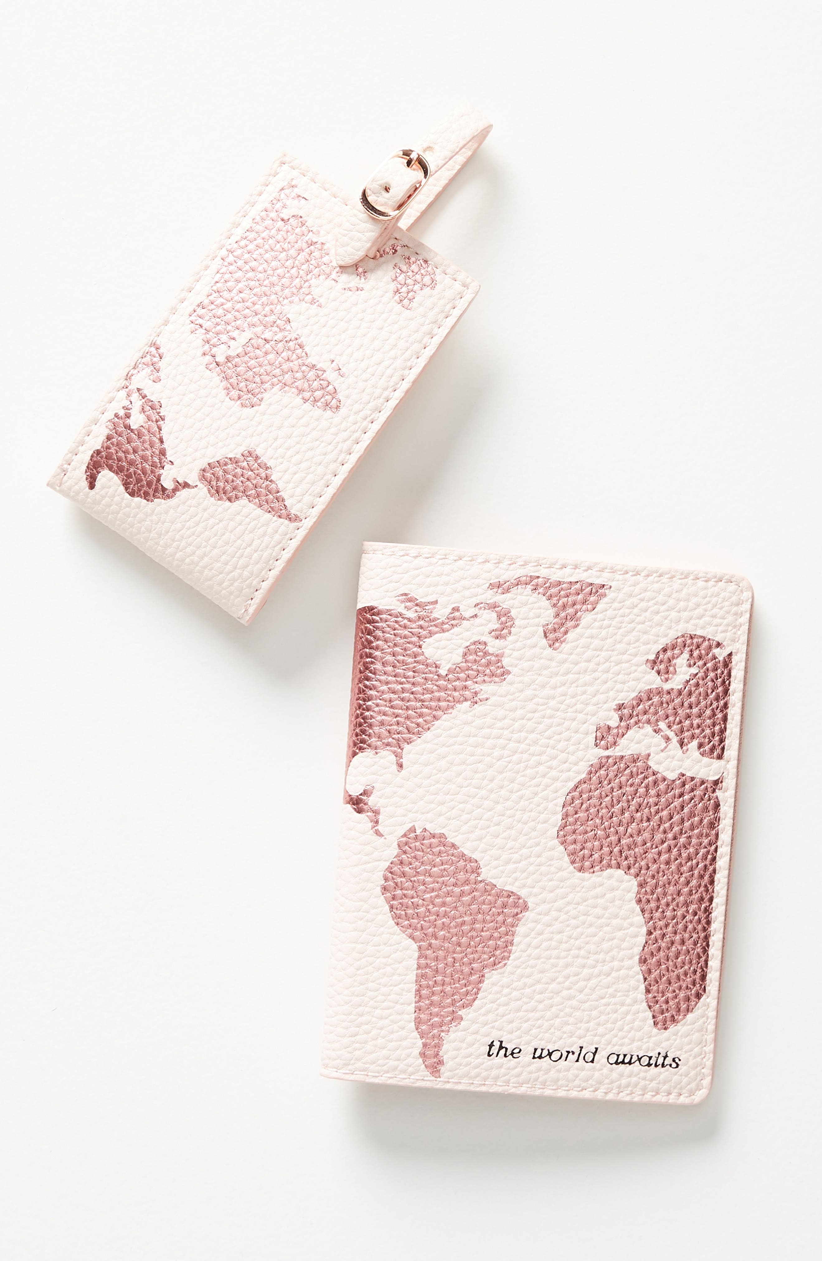 anthropologie luggage tag & passport cover set - pink