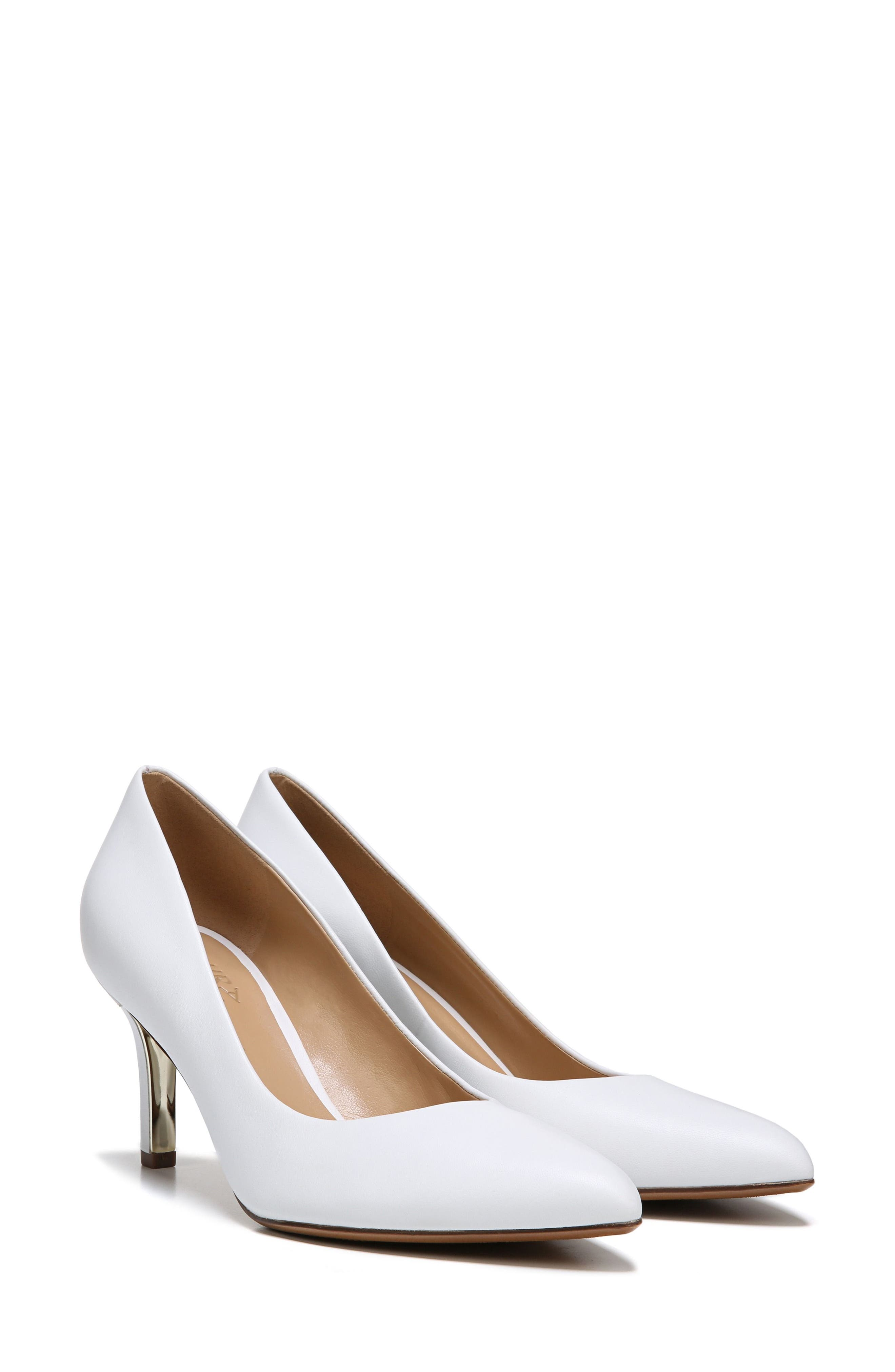 Natalie Pointy Toe Pump,                             Alternate thumbnail 8, color,                             WHITE LEATHER