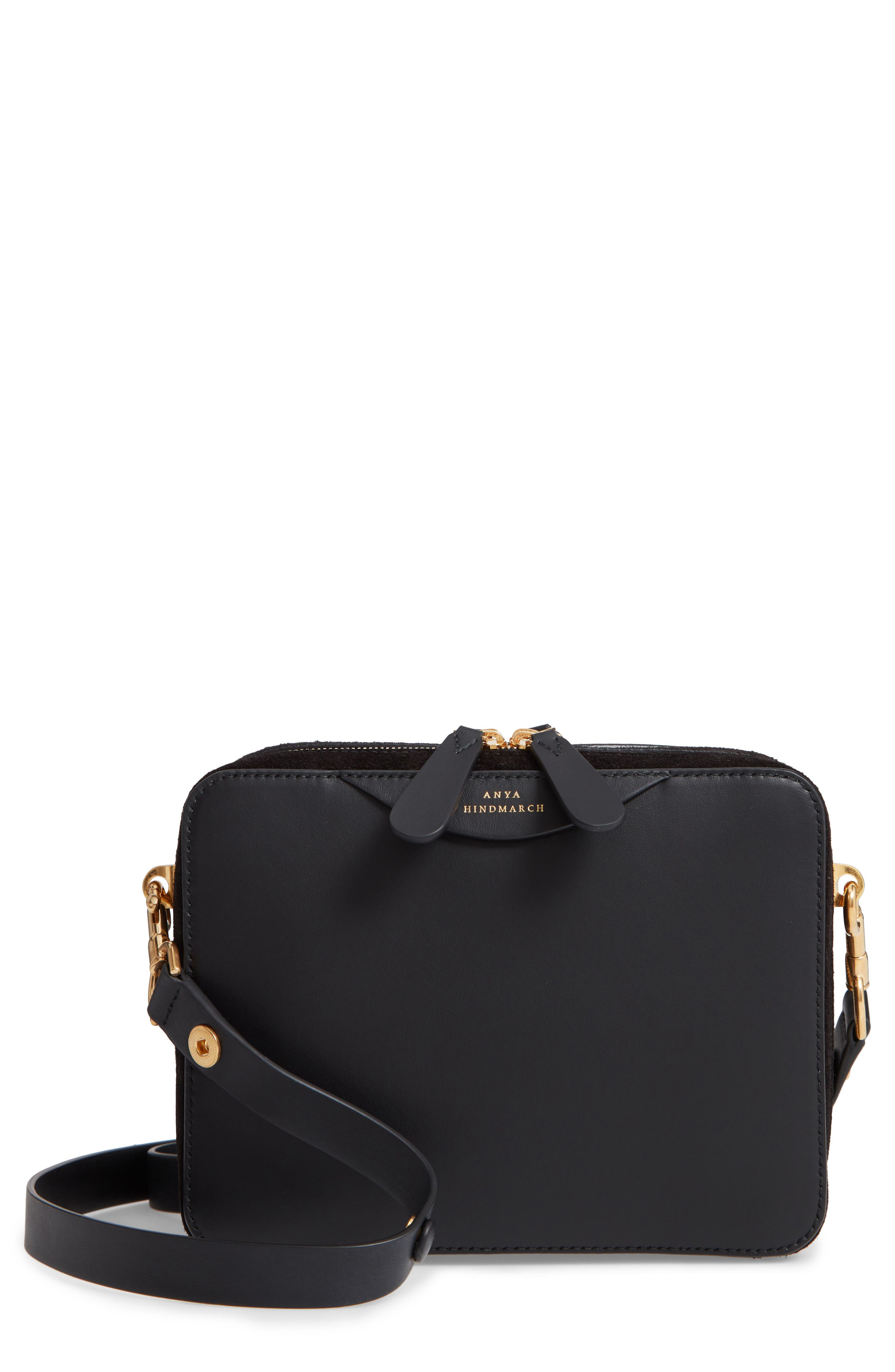 The Double Stack Leather Crossbody Bag,                             Main thumbnail 1, color,                             001