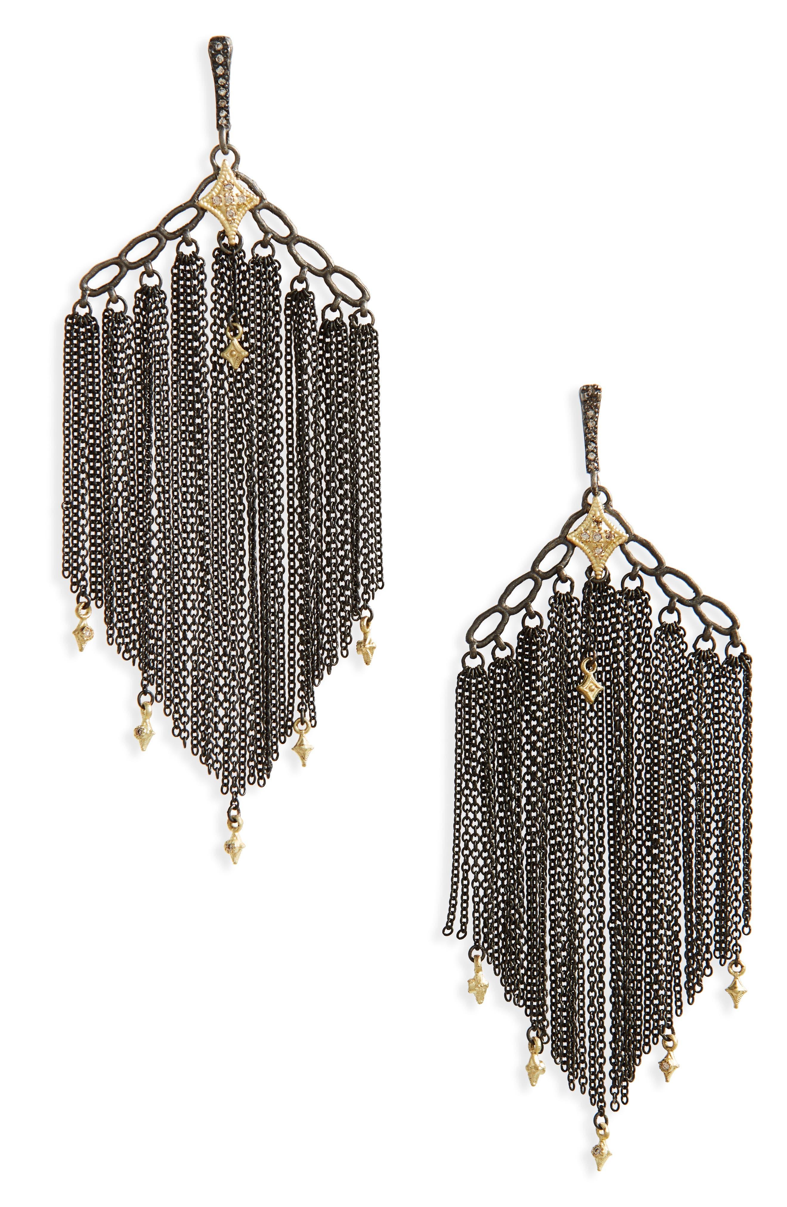 Old World Crivelli Chain Earrings,                             Main thumbnail 1, color,                             BLACKENED SILVER/ DIAMONDS