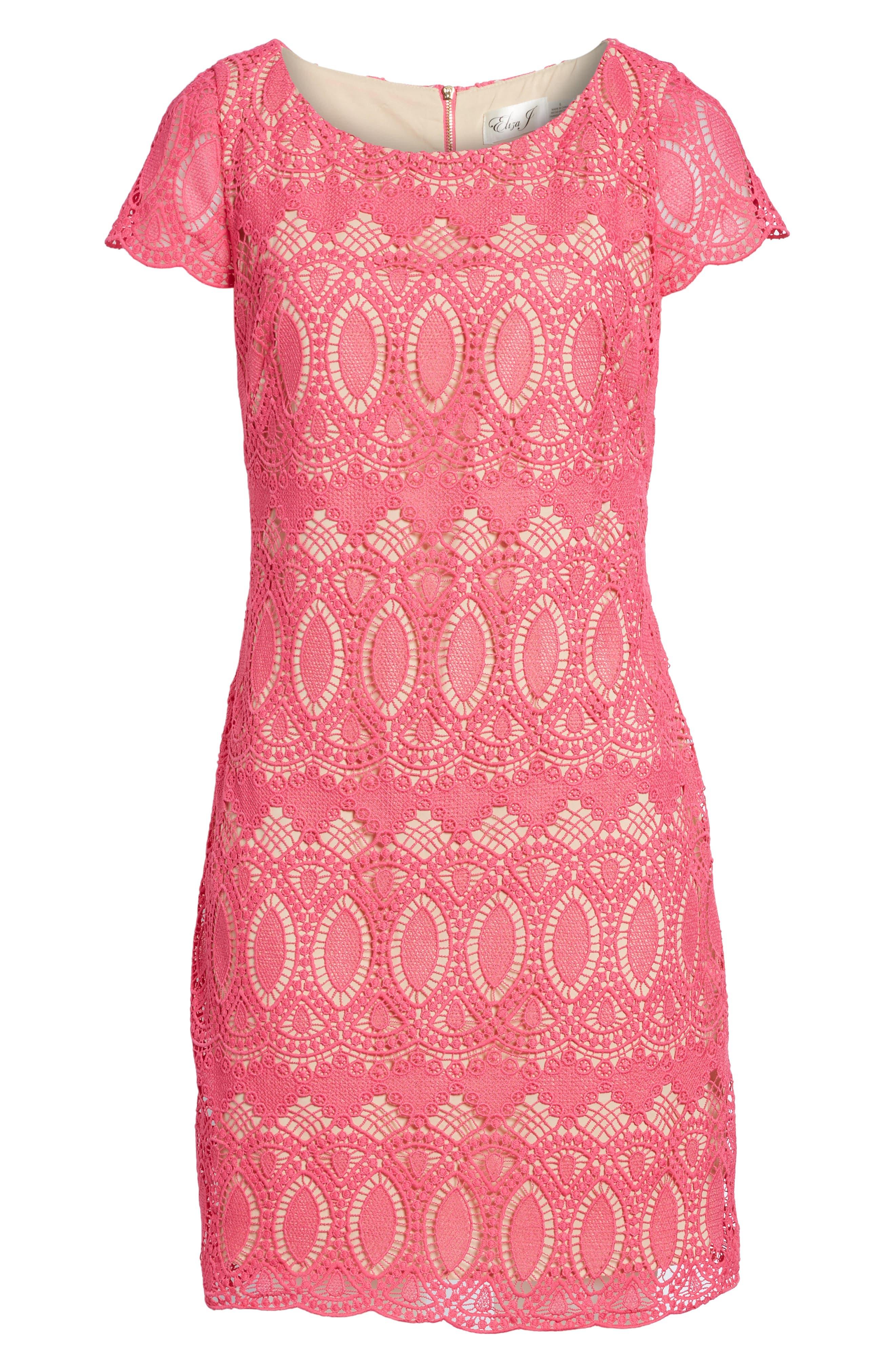 Scalloped Lace Sheath Dress,                             Alternate thumbnail 2, color,                             660