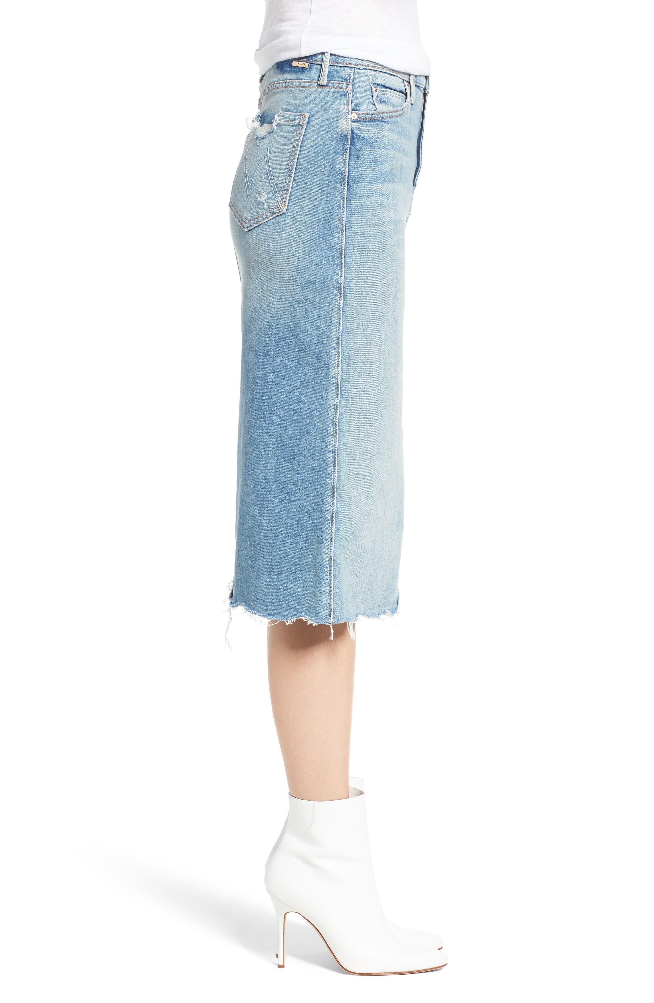 Swooner Straight-A Chewed Hem Denim Skirt,                             Alternate thumbnail 3, color,                             450