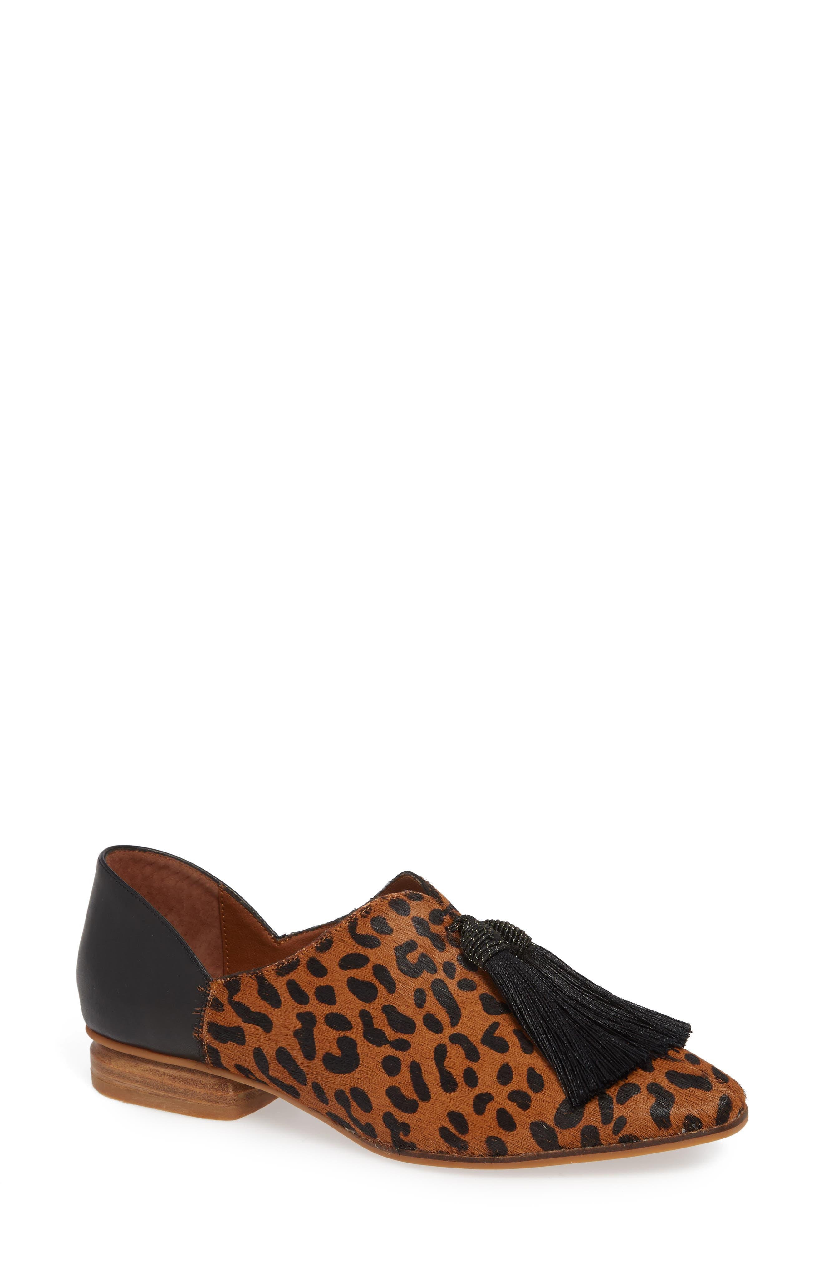 SBICCA Primwood Tassel Loafer, Main, color, BLACK LEOPARD LEATHER