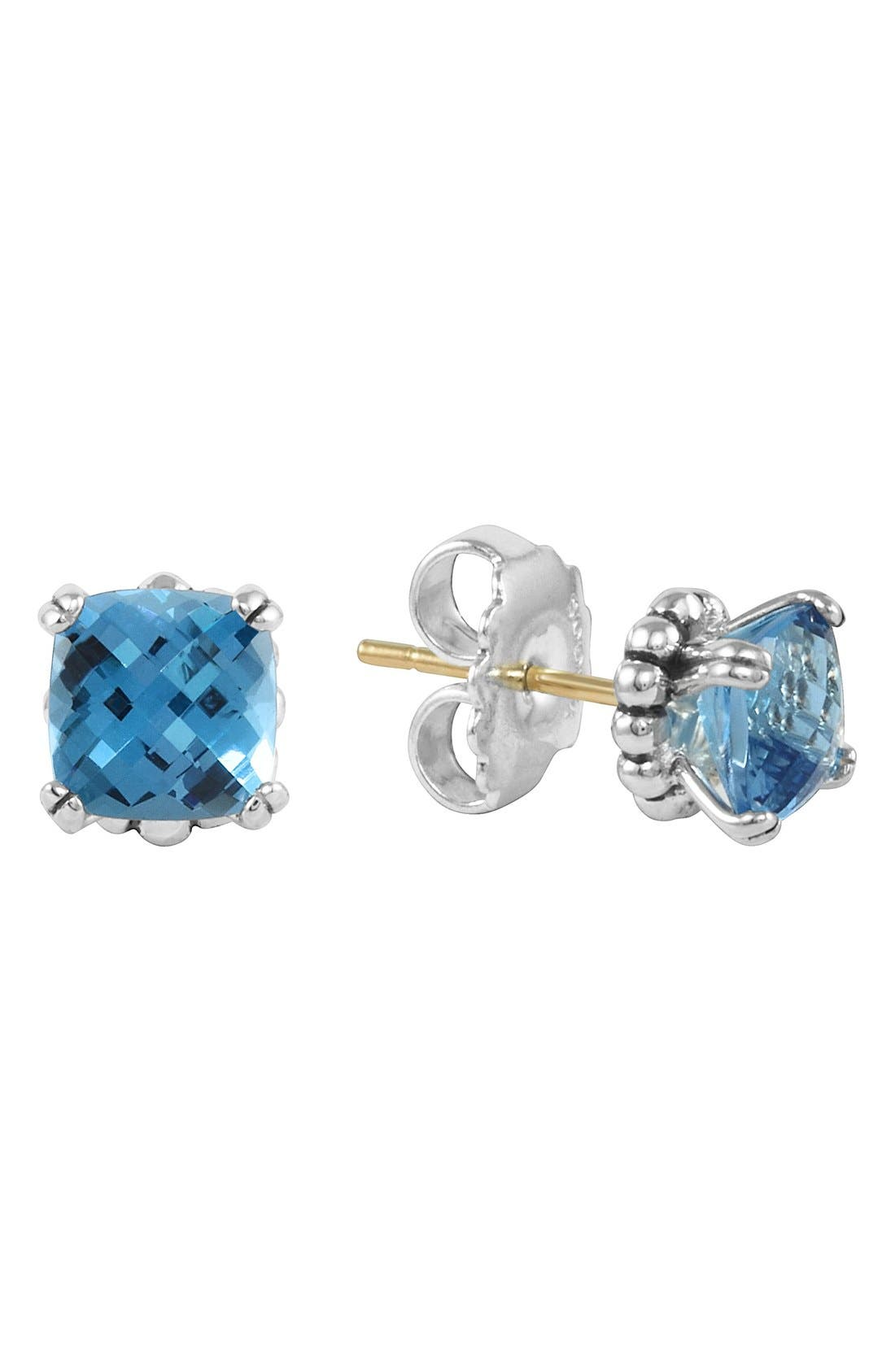 'Prism' Stud Earrings,                         Main,                         color, SILVER/ BLUE TOPAZ