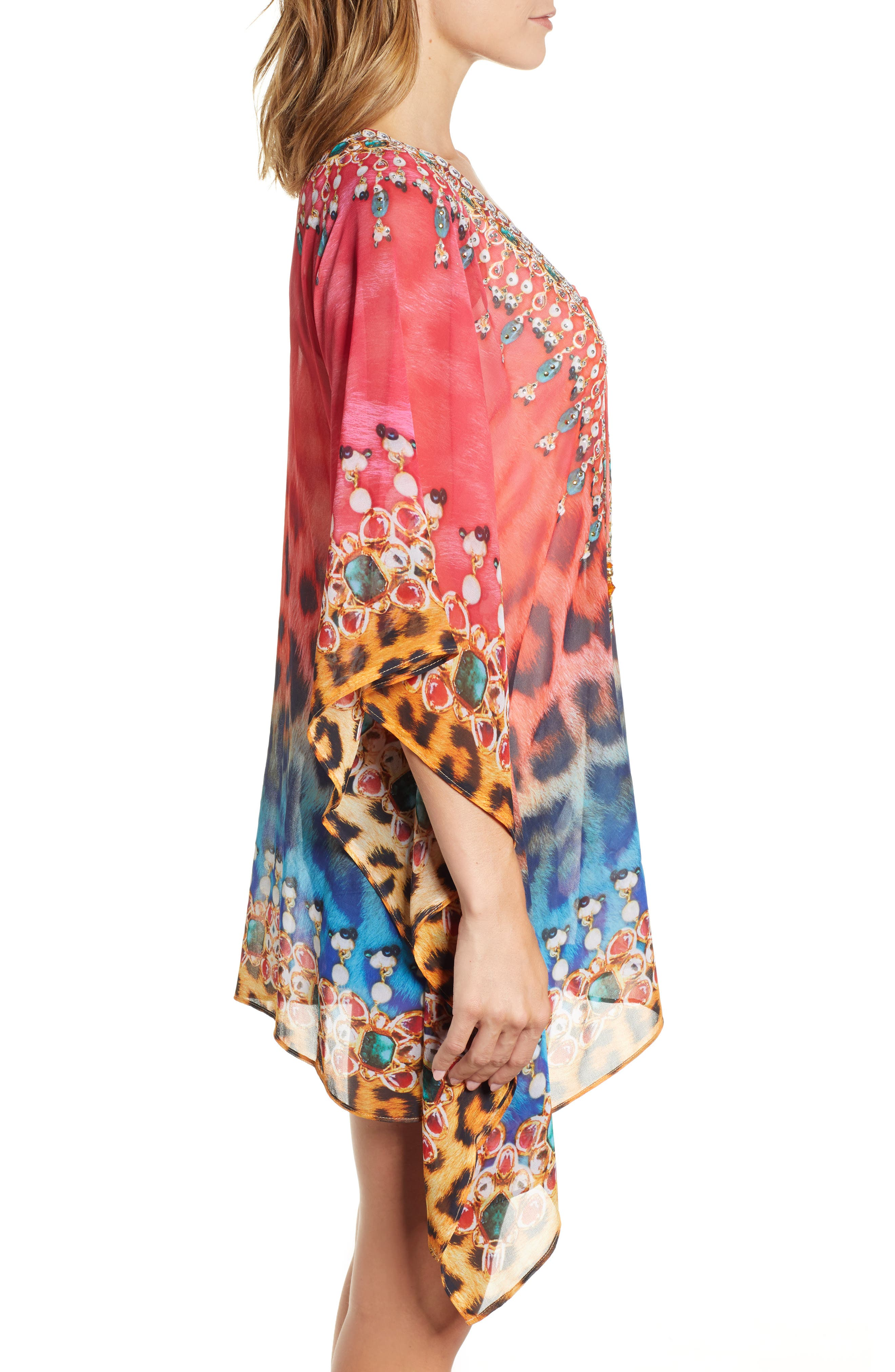 Positano Short Kaftan,                             Alternate thumbnail 3, color,                             RED/BLUE MULTI