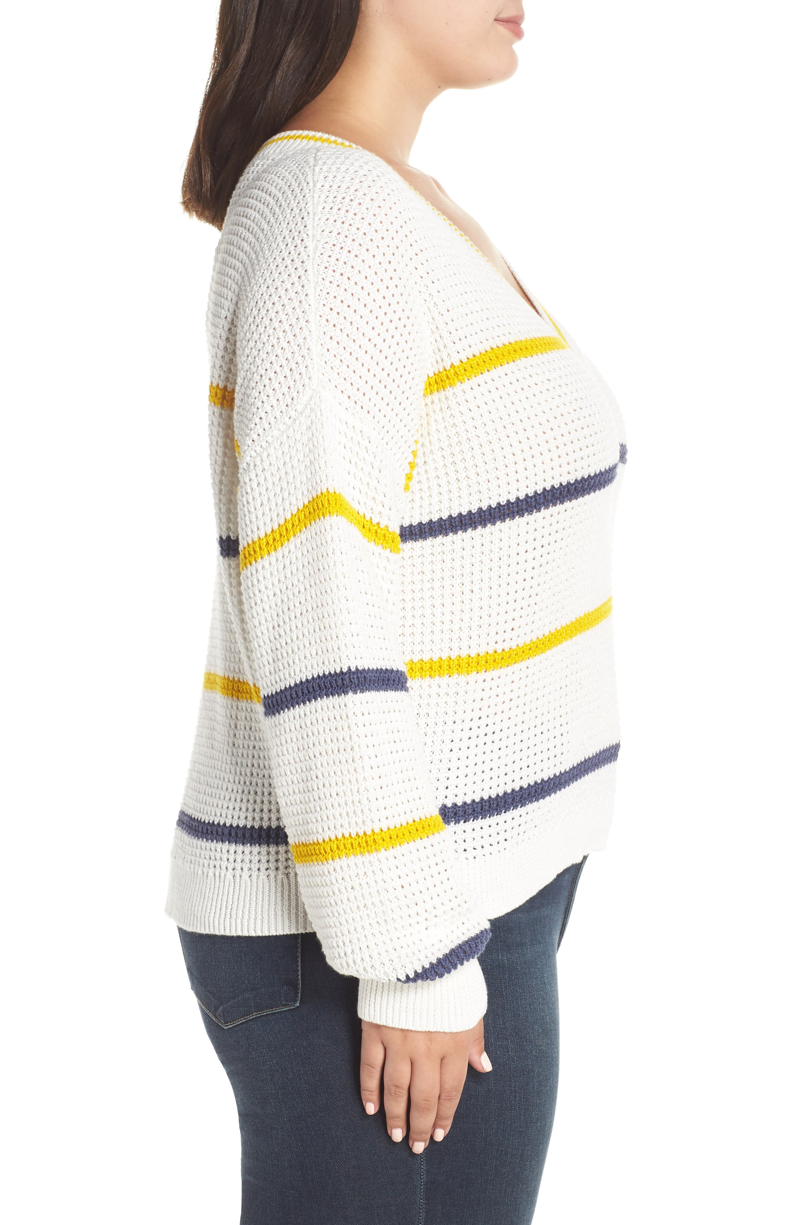 BP.,                             Stripe Cotton Thermal Sweater,                             Alternate thumbnail 9, color,                             IVORY SEA STRIPE