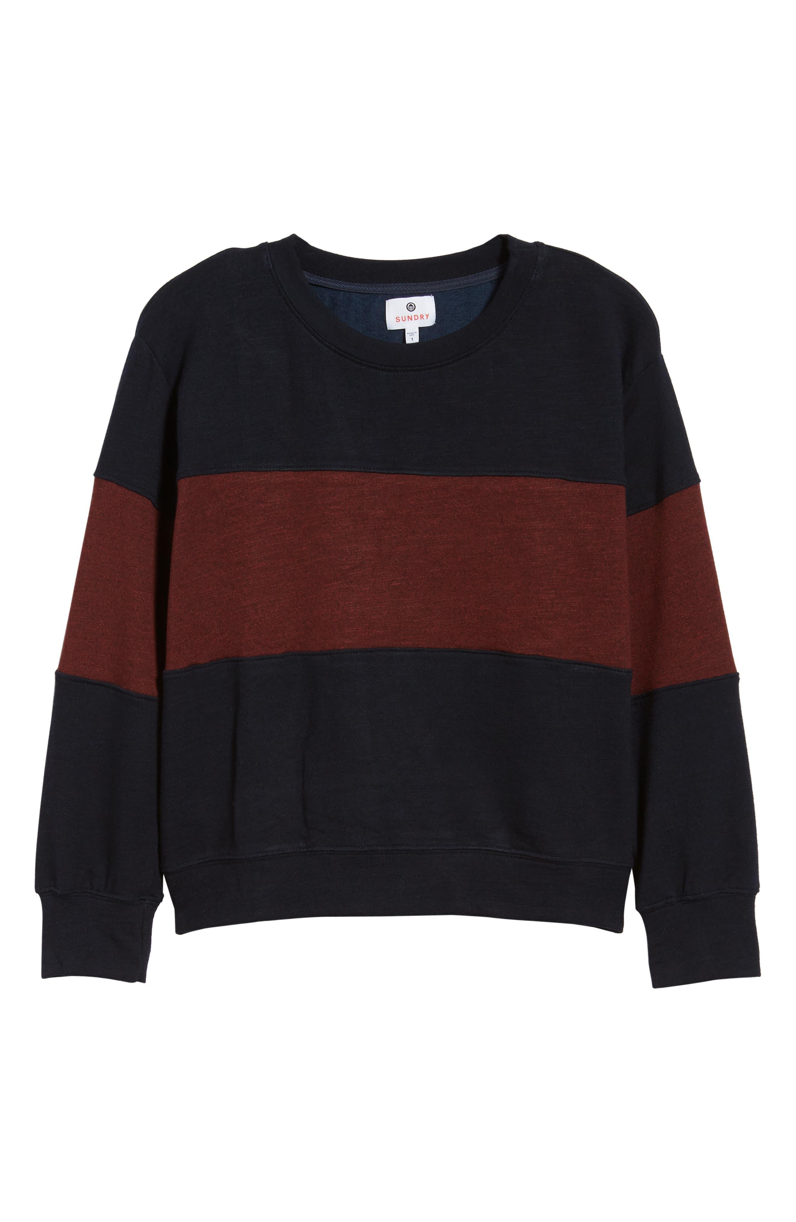 Colorblock Crop Sweatshirt,                             Alternate thumbnail 6, color,                             MIDNIGHT/ MARSALA