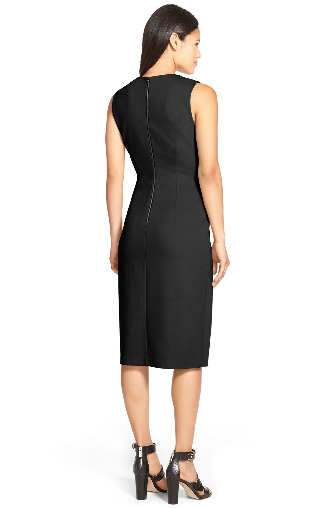 'Ava' Drape Detail Double Knit Dress,                             Alternate thumbnail 2, color,                             001