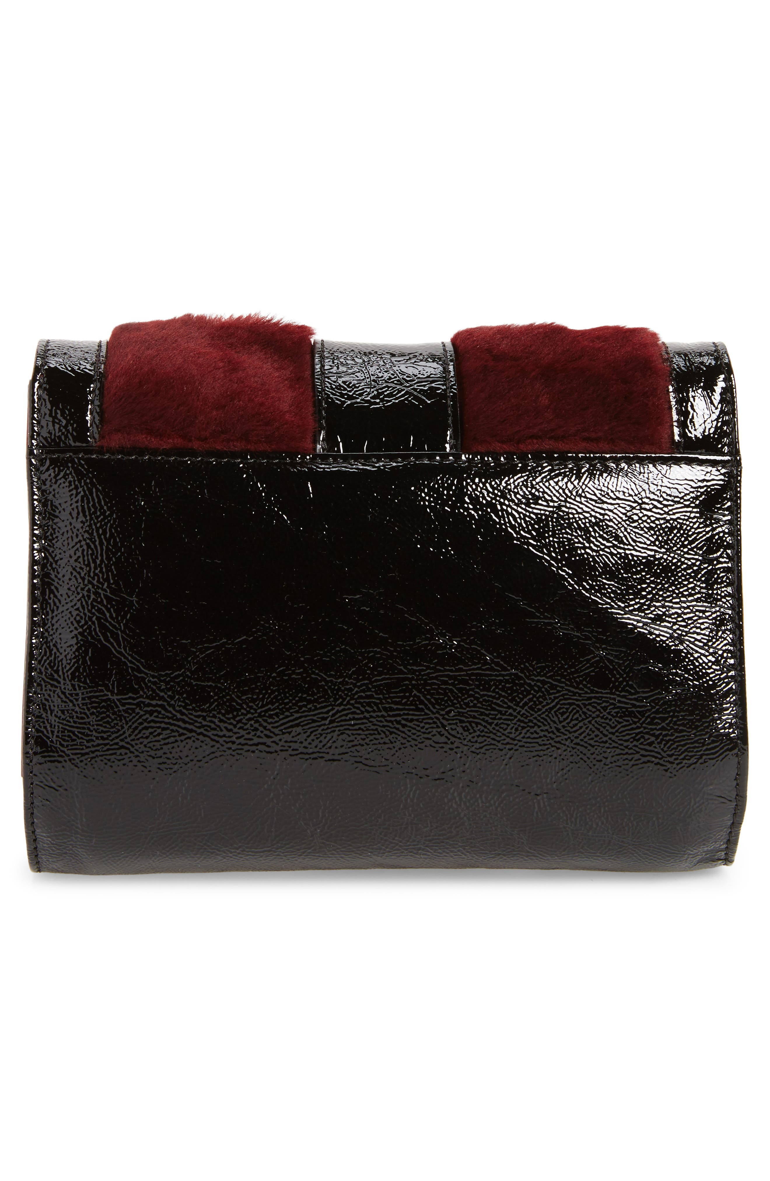 La Baronne Genuine Shearling Trim Leather Clutch,                             Alternate thumbnail 3, color,
