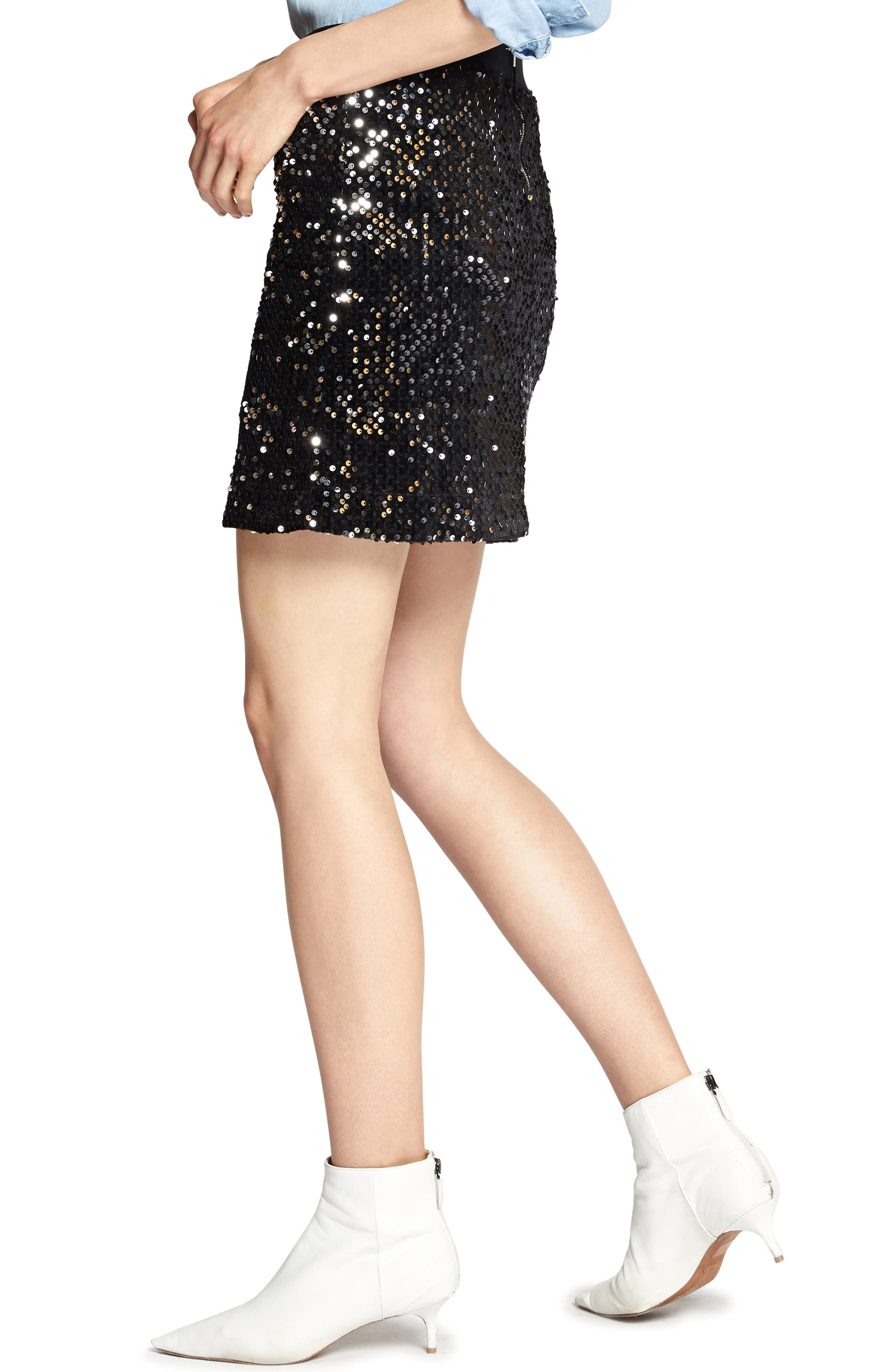 Ready For the Night Sequins Skirt,                             Alternate thumbnail 3, color,                             BLACK/ SILVER