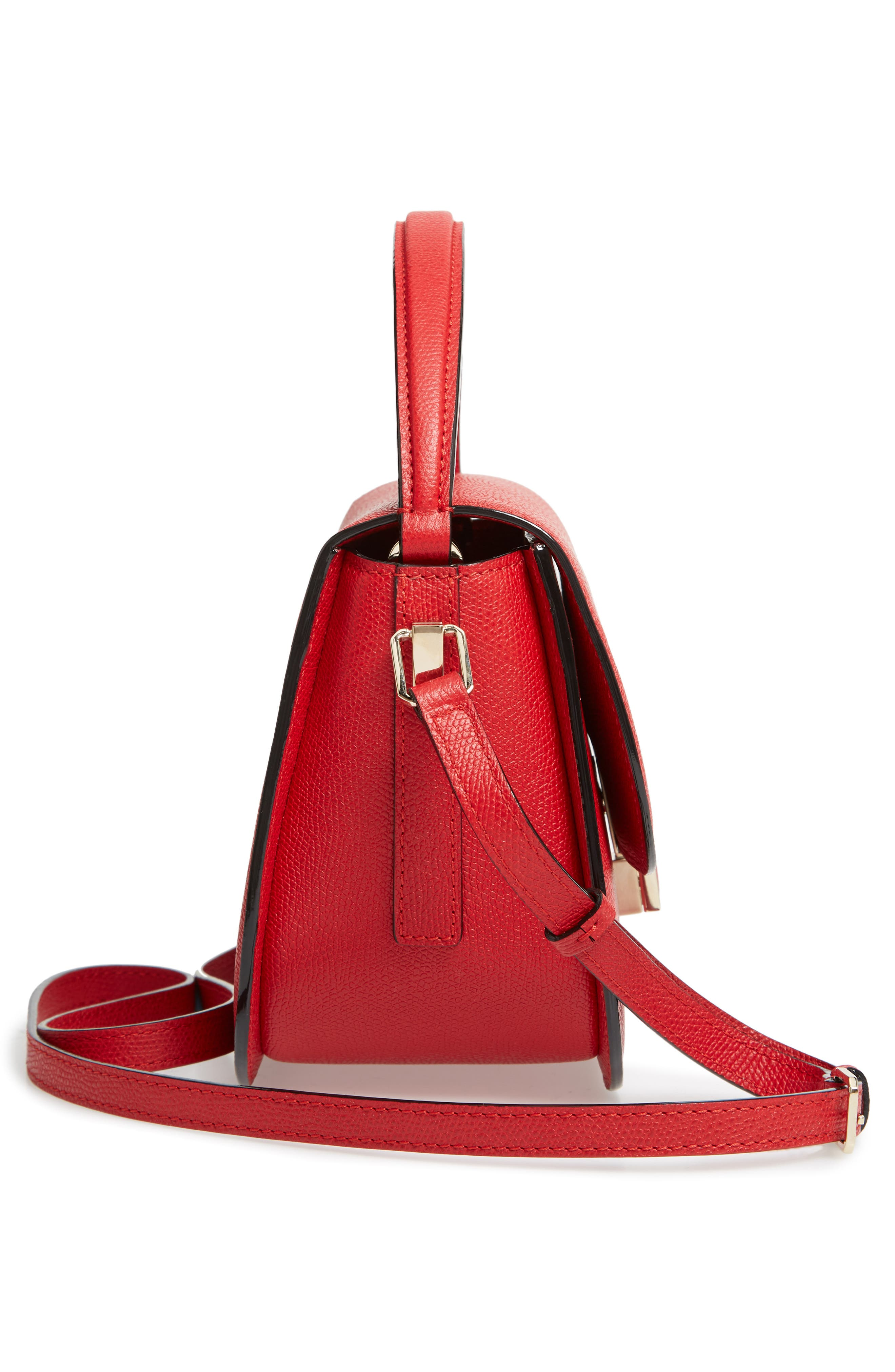 Iside Leather Top Handle Bag,                             Alternate thumbnail 5, color,                             RED