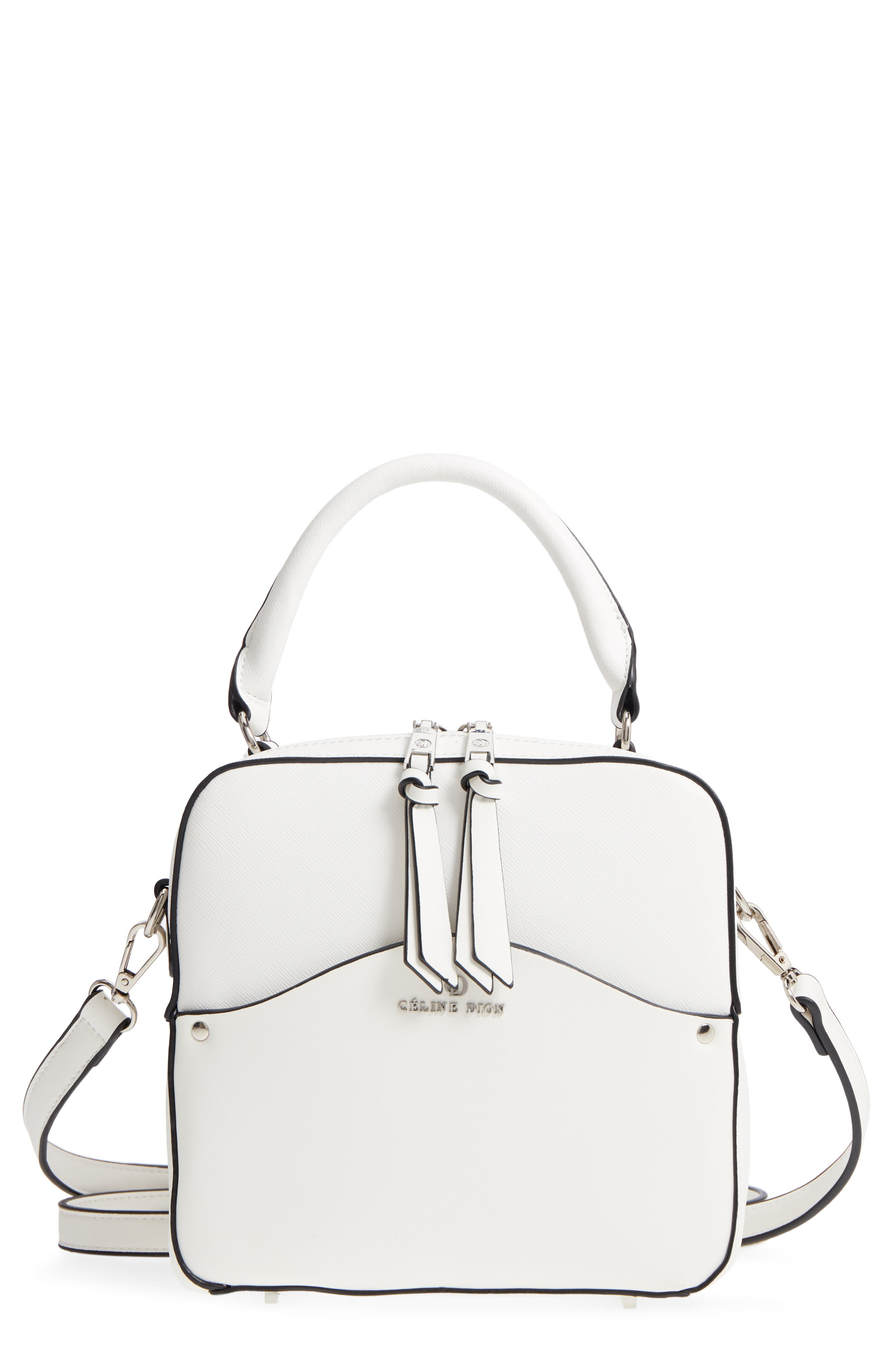 Céline Dion Motif Top Handle Leather Satchel,                             Main thumbnail 3, color,