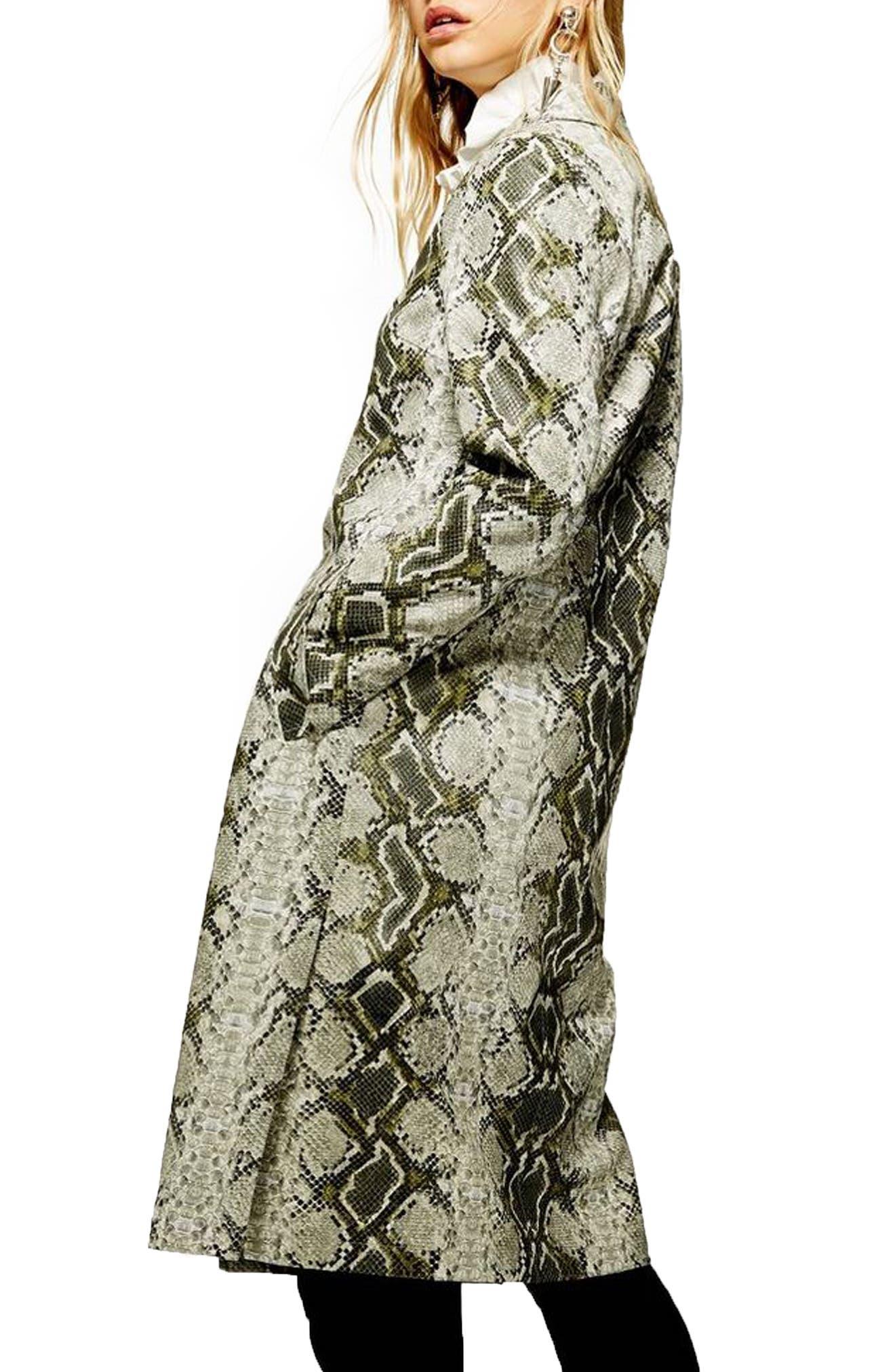 TOPSHOP,                             Rok It Snake Print Coat,                             Alternate thumbnail 3, color,                             GREEN MULTI