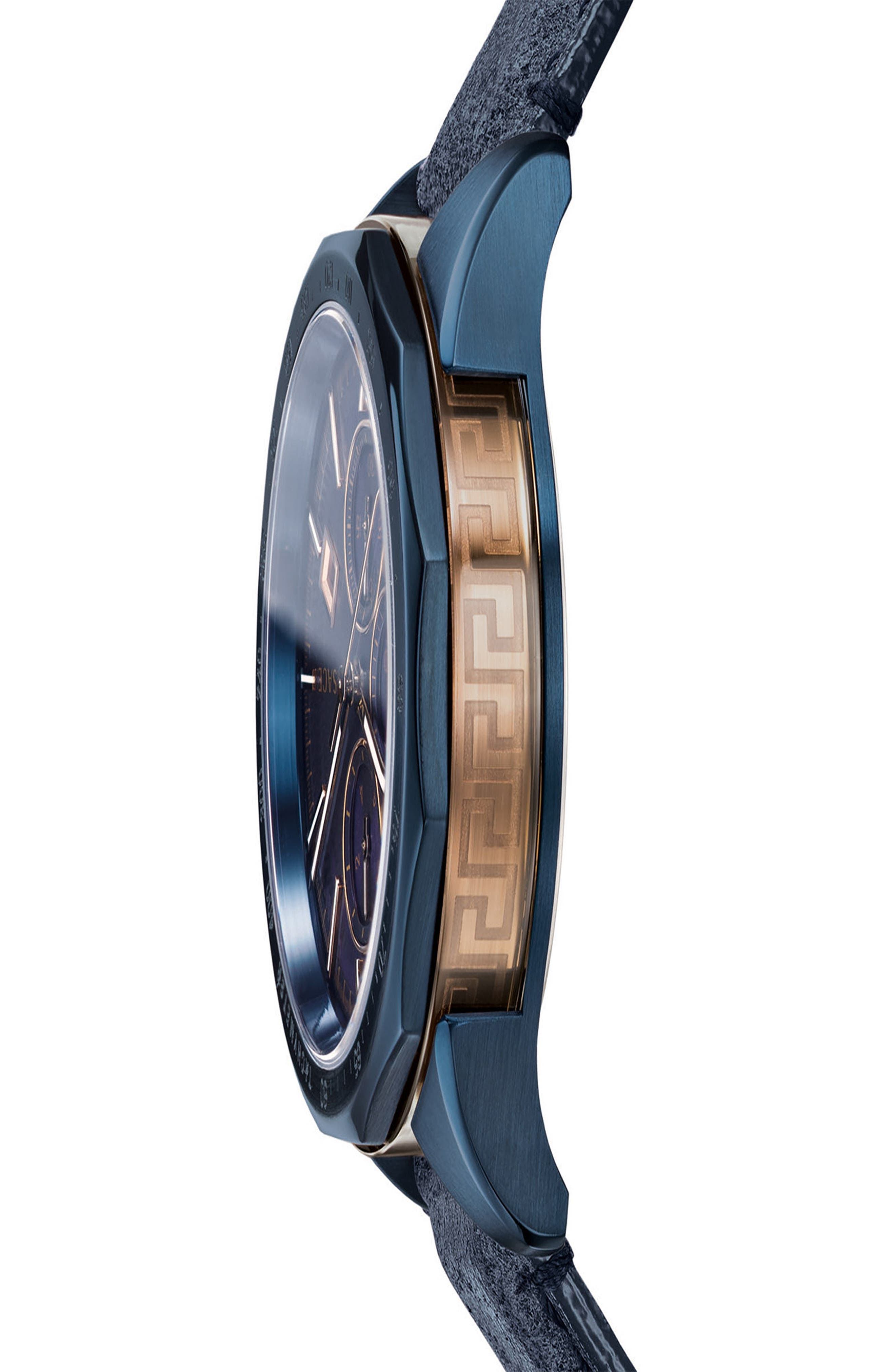 VERSACE,                             Glaze Chronograph Leather Strap Watch, 44mm,                             Alternate thumbnail 3, color,                             BLUE
