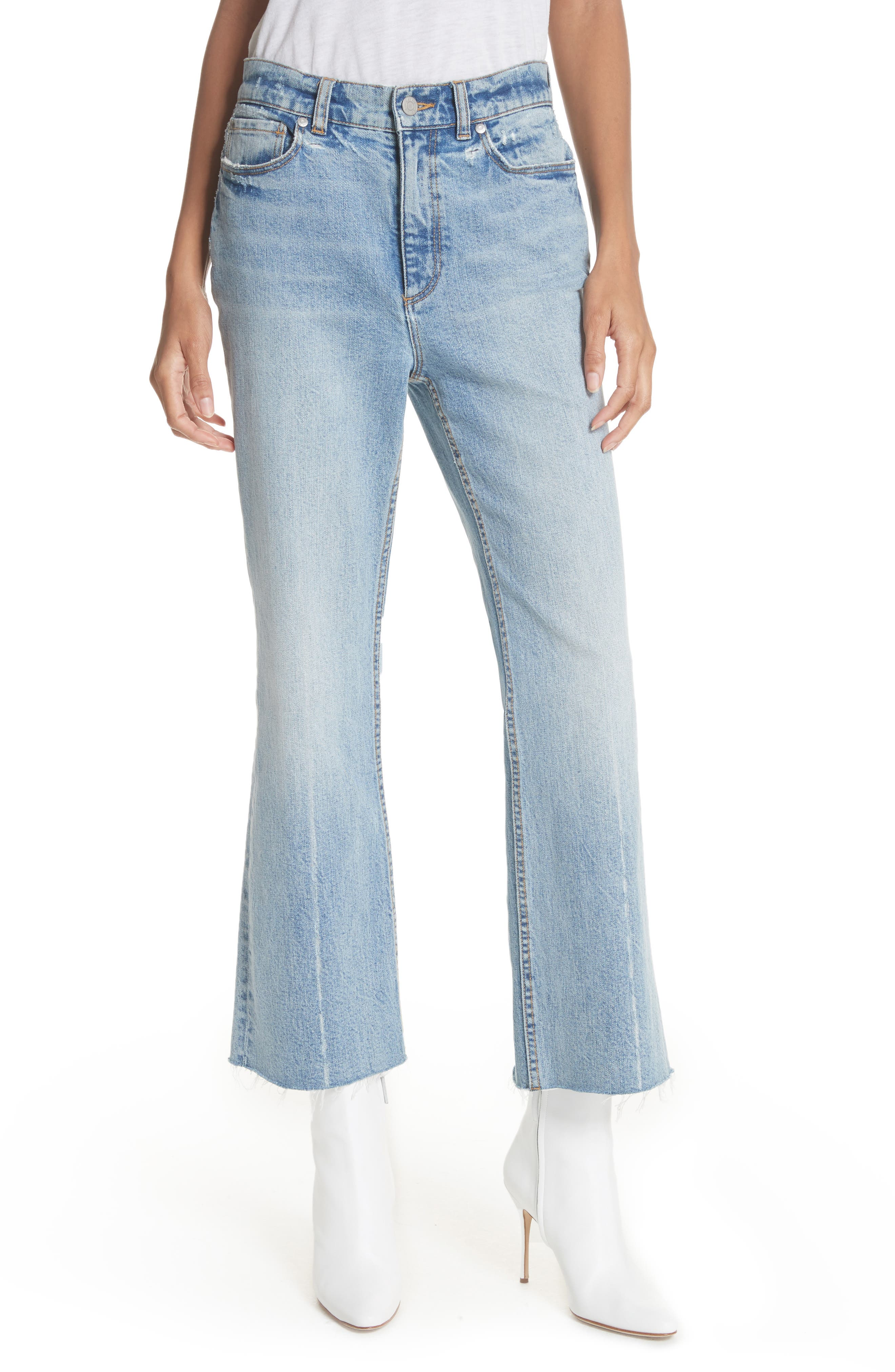 Ines Kick Bootcut Jeans, Main, color, LEFT BANK WASH