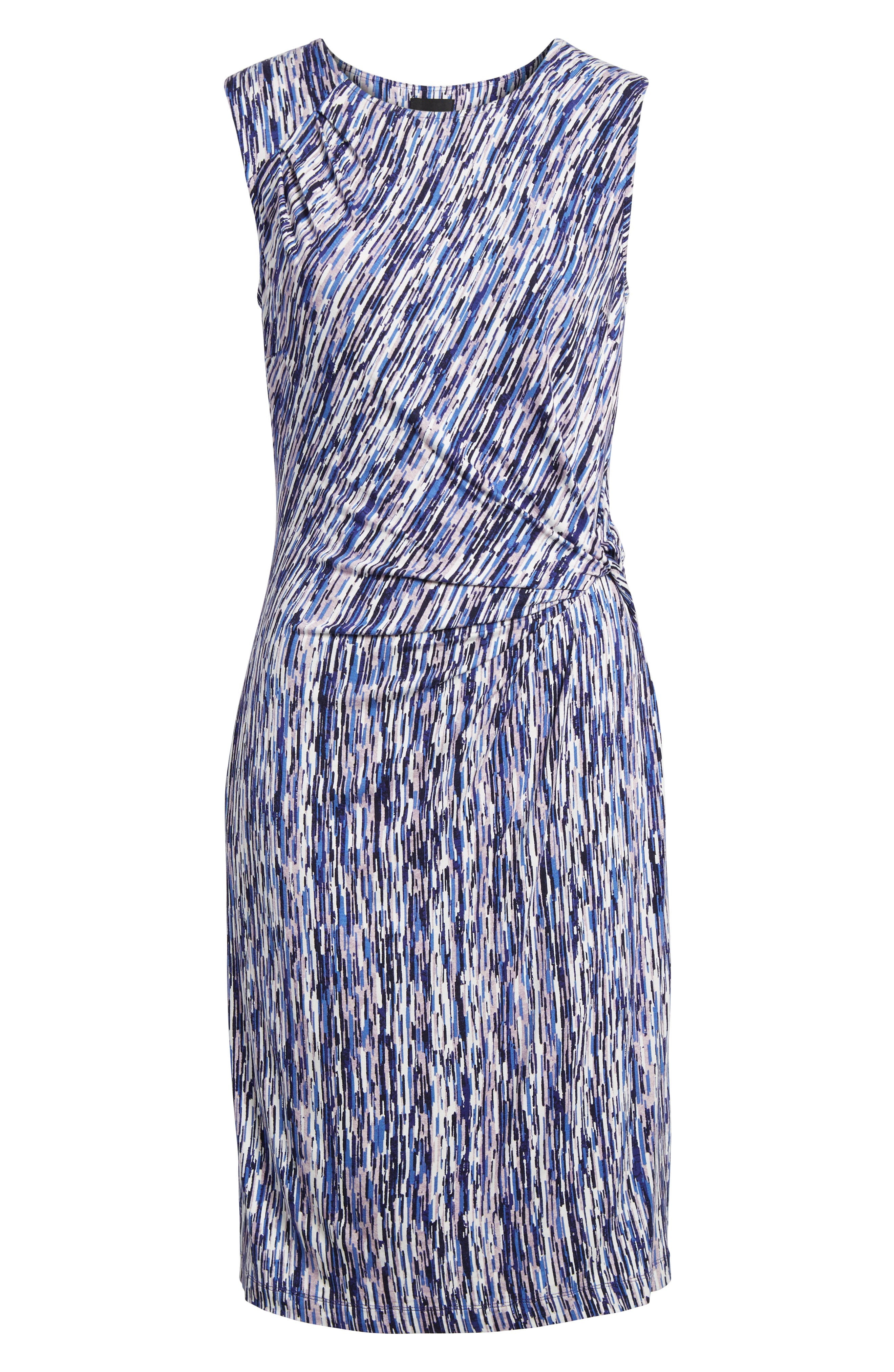 Sapphire Stripe Side Twist Dress,                             Alternate thumbnail 6, color,                             490