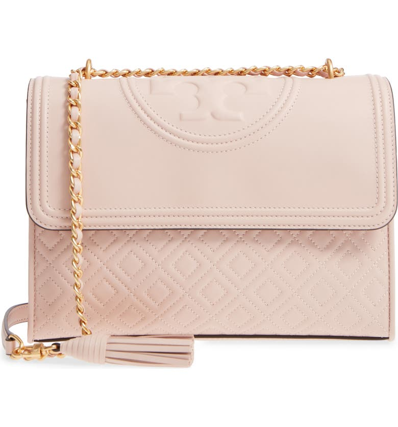 52a7a129538c Tory Burch Fleming Quilted Leather Small Convertible Shoulder Bag In Pink