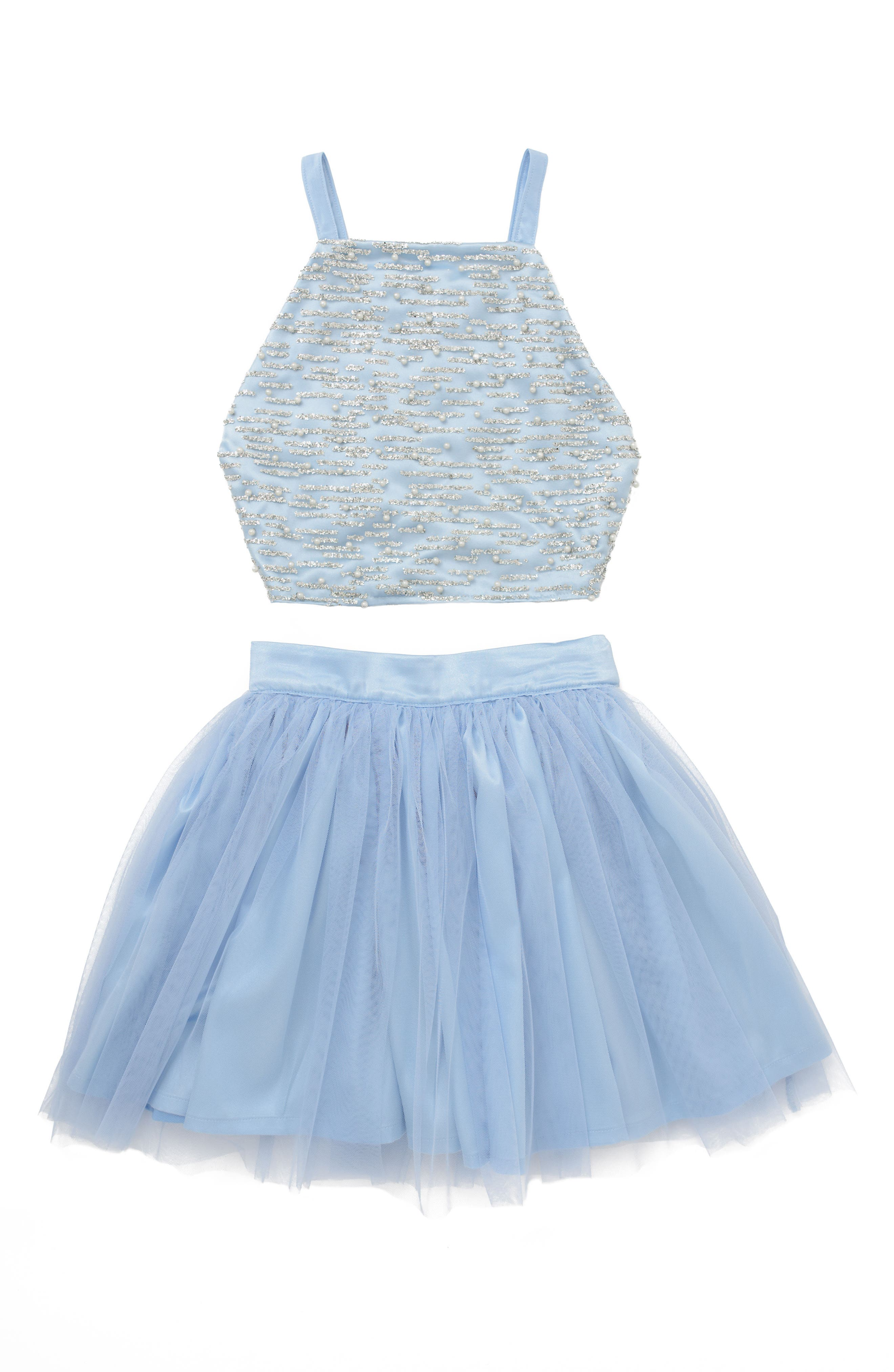 Stella M'Lia Two-Piece Beaded Tulle Dress,                             Main thumbnail 1, color,                             PALE BLUE