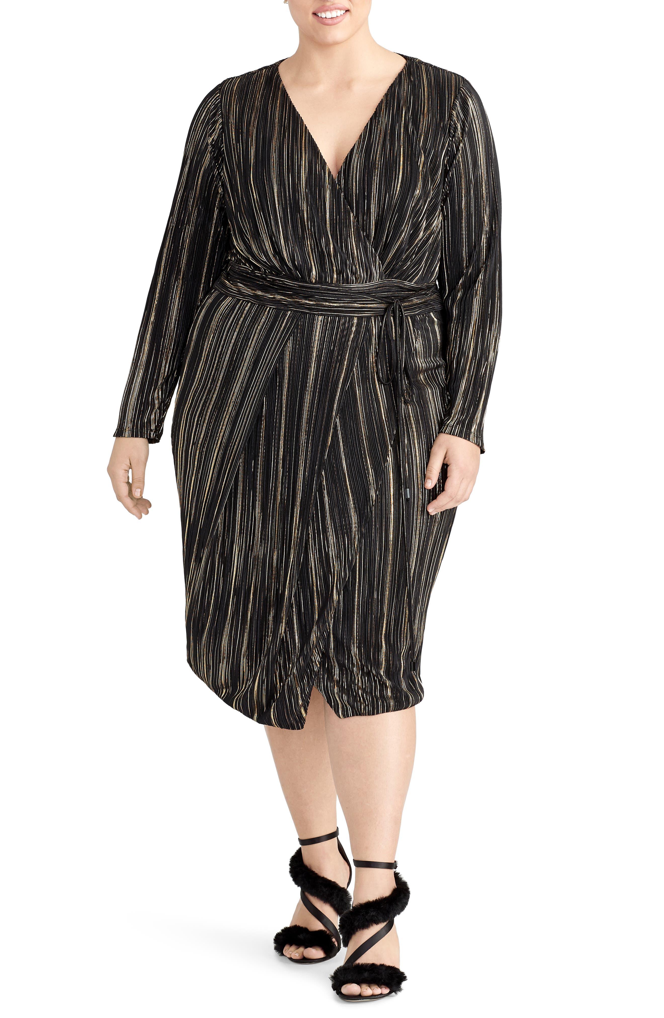 Plus Size Rachel Rachel Roy Kaia Faux Wrap Metallic Dress
