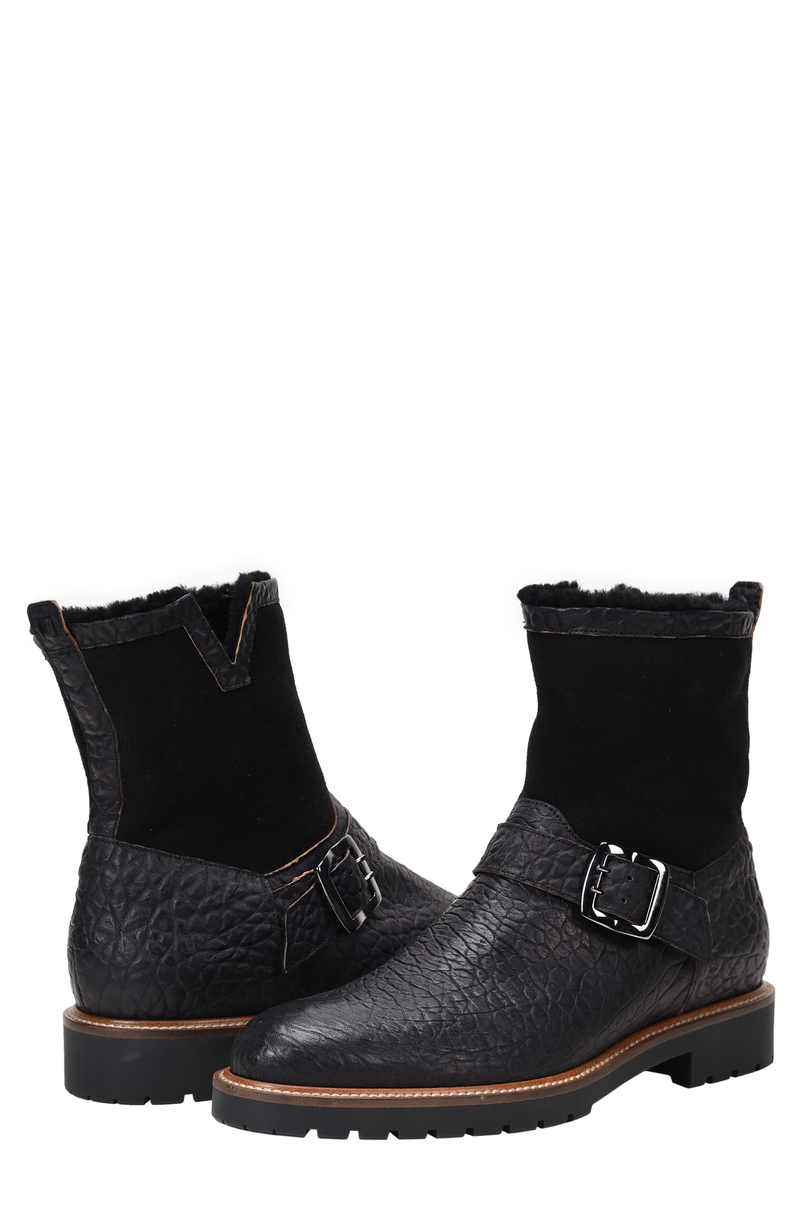 Federico Waterproof Genuine Shearling Lined Moto Boot,                             Alternate thumbnail 7, color,                             RUGGED BLACK