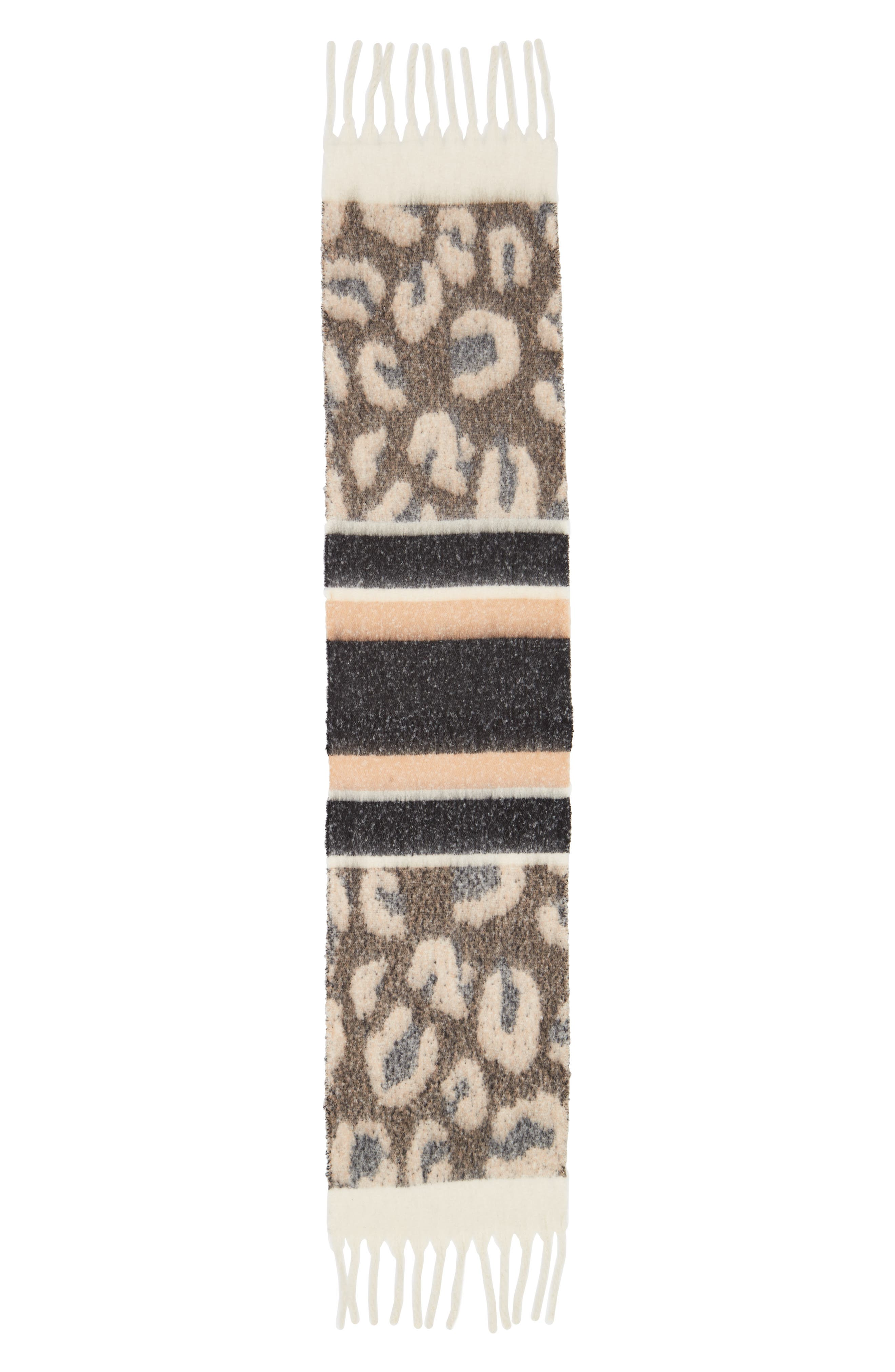 Leopard Stripe Knit Scarf,                             Alternate thumbnail 2, color,                             BLACK MULTI