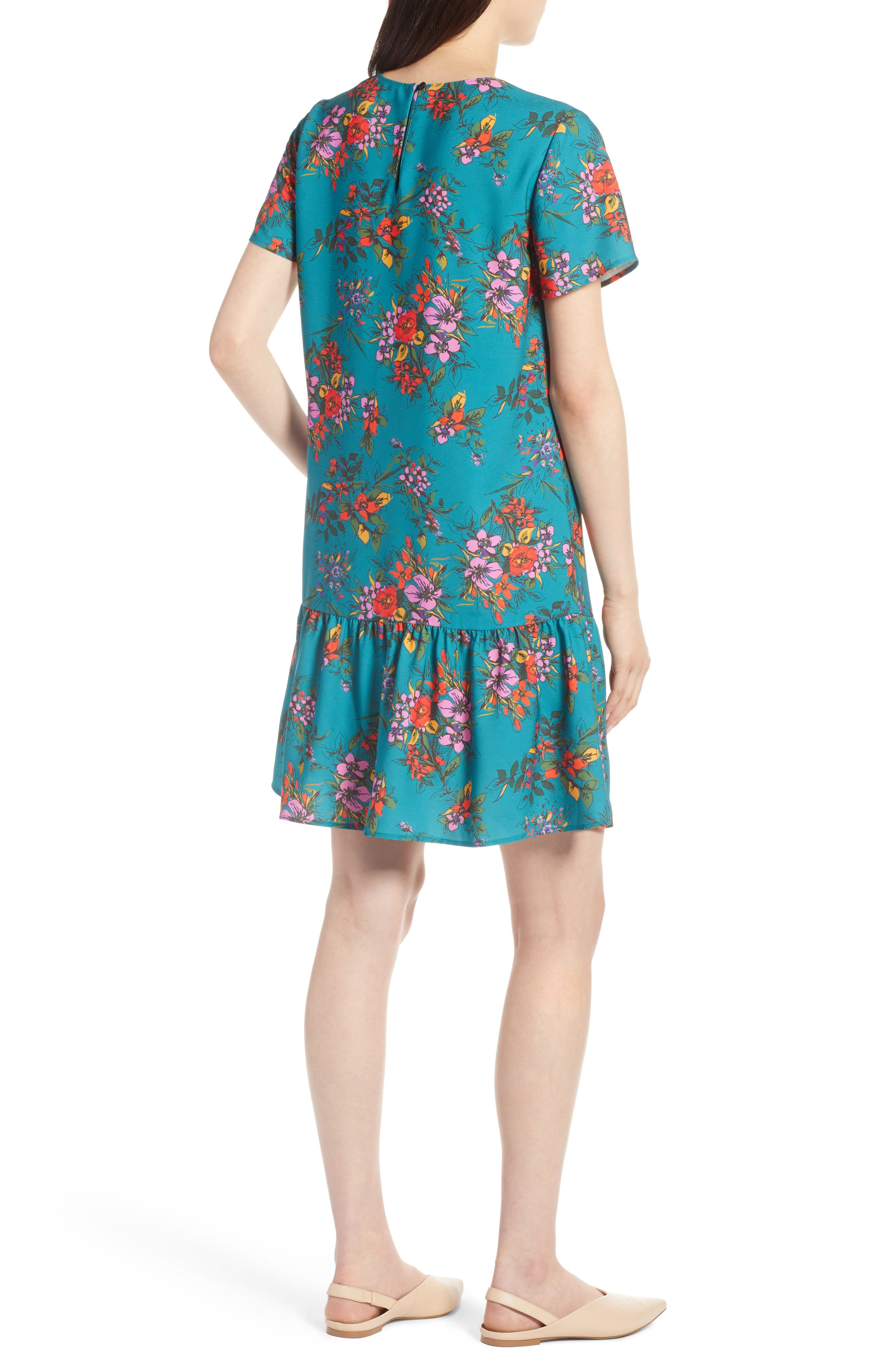 Short Sleeve Ruffle Hem Dress,                             Alternate thumbnail 11, color,