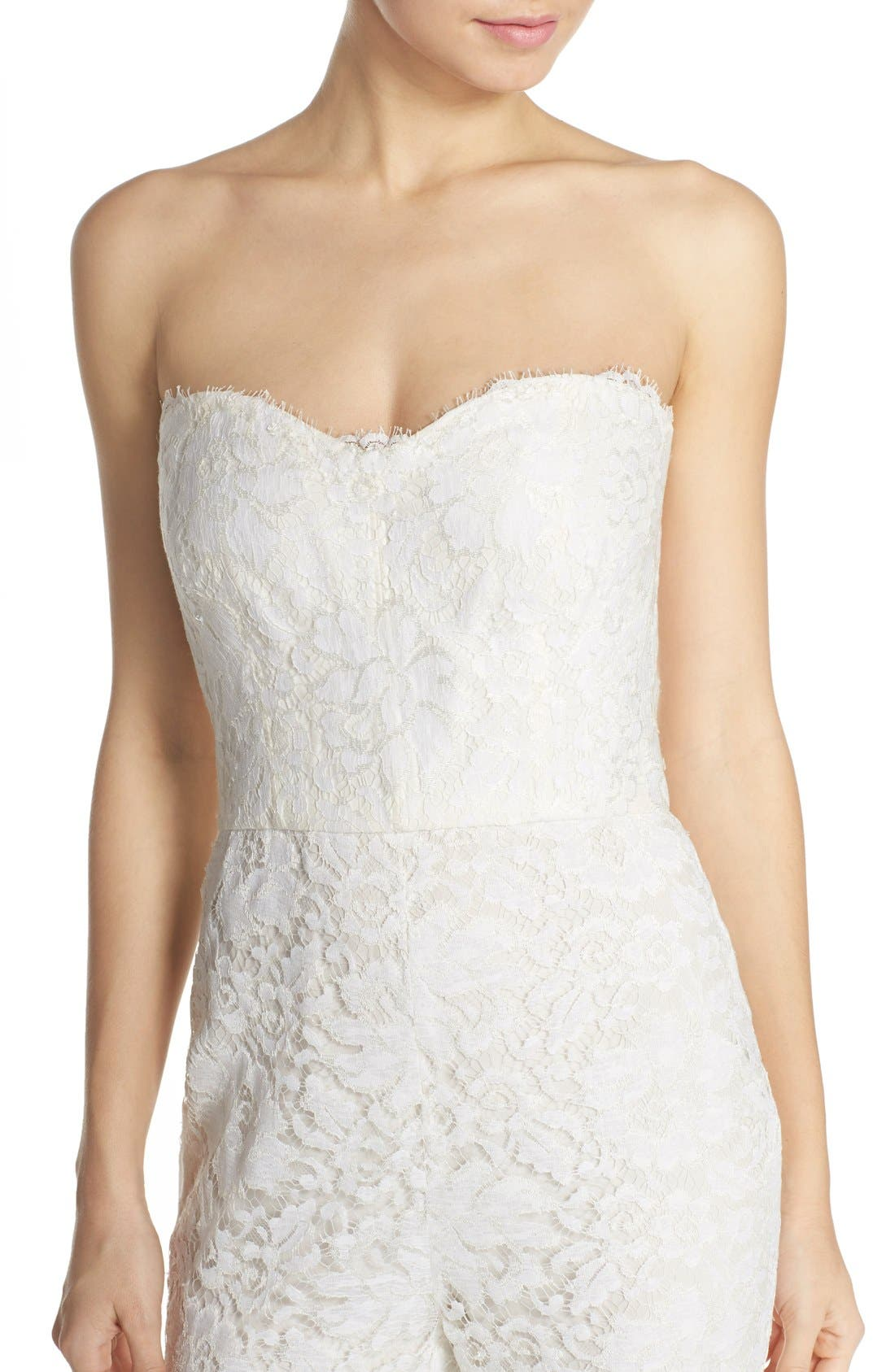 Monique Lhuillier Ready to Wed Strapless Chantilly Lace Jumpsuit,                             Alternate thumbnail 3, color,                             100