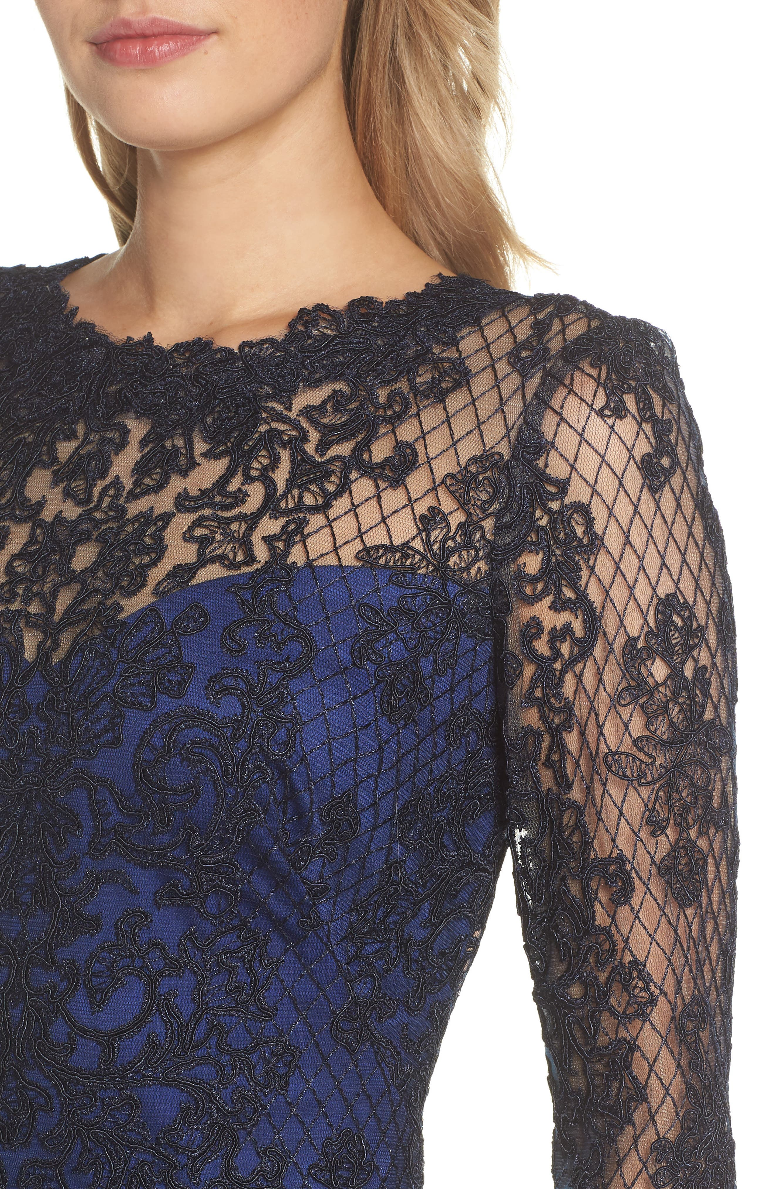 Corded Lace & Tulle Gown,                             Alternate thumbnail 4, color,                             NAVY