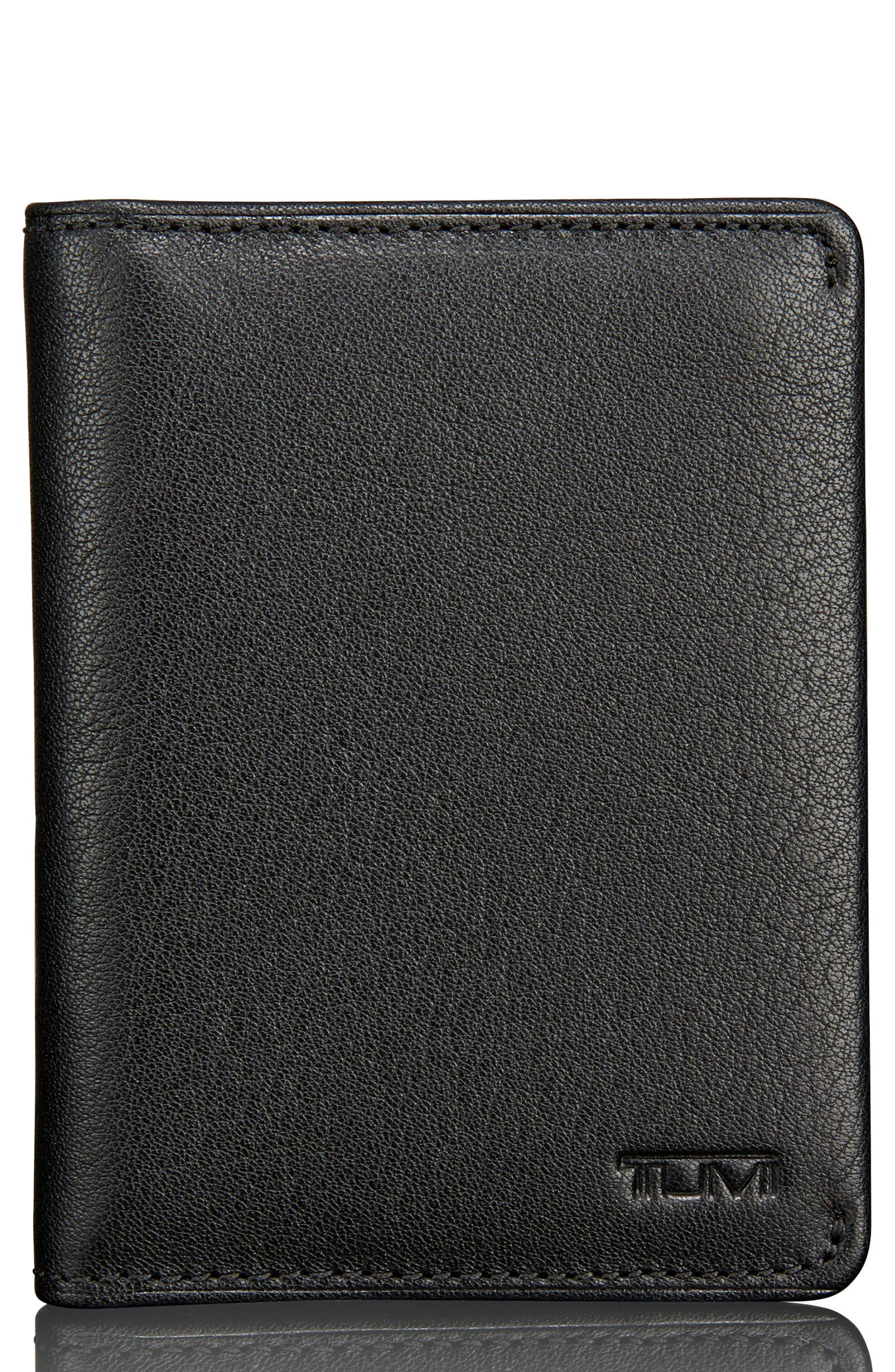 Leather Card Case,                         Main,                         color, BLACK TEXTURED