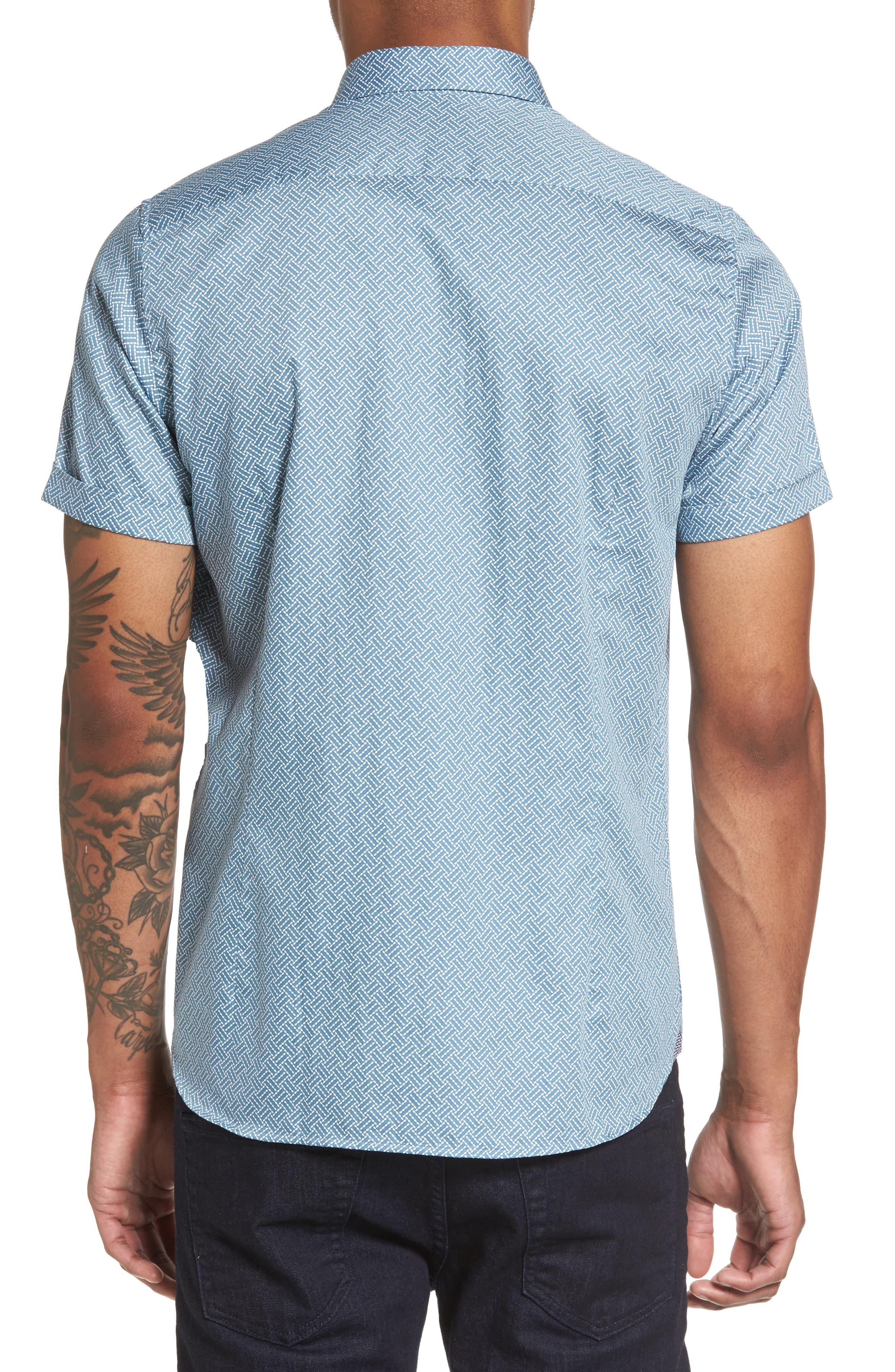 Lashore Basketweave Print Woven Shirt,                             Alternate thumbnail 2, color,                             421