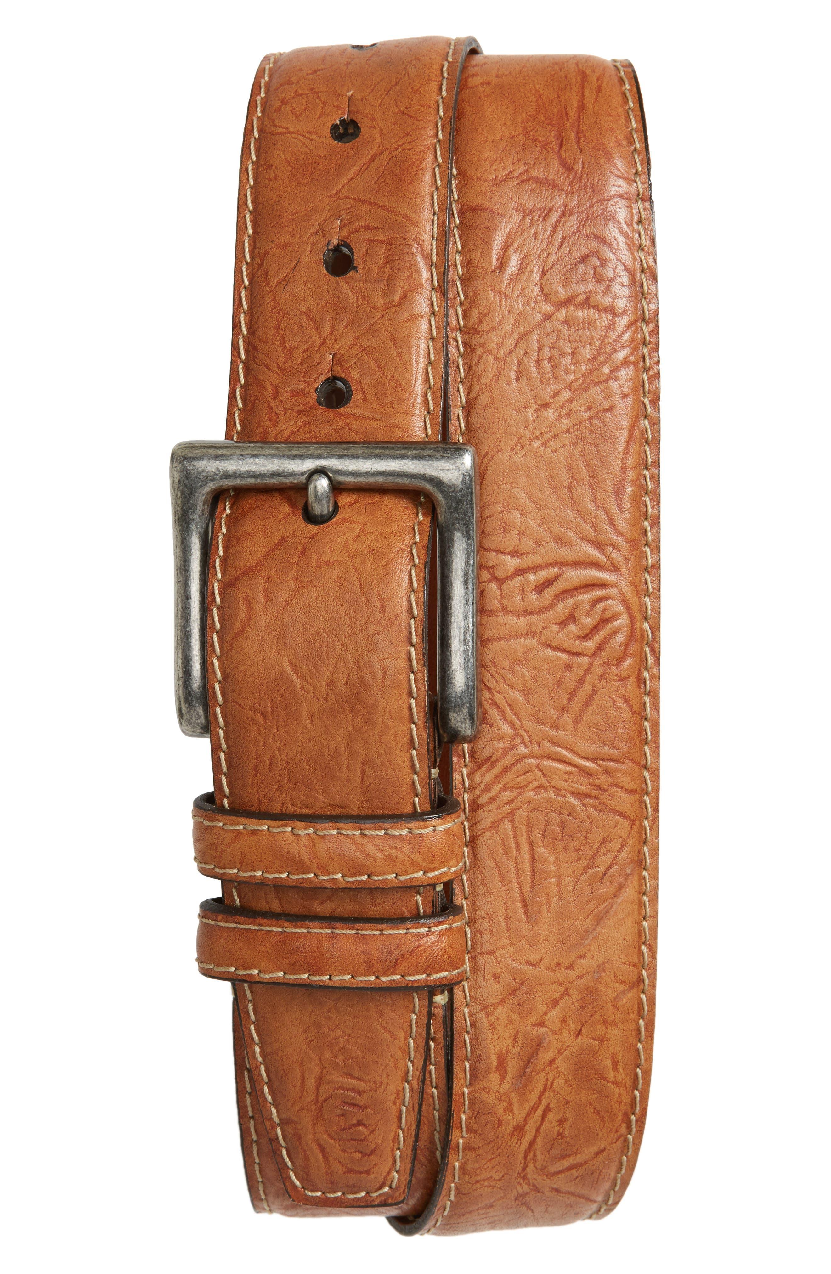 Puckered Leather Belt,                         Main,                         color, SADDLE