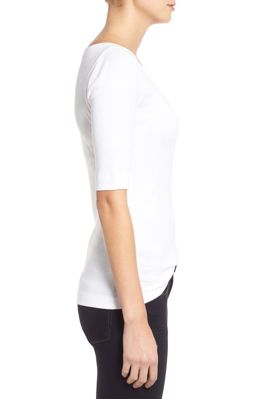 Ballet Neck Cotton & Modal Knit Elbow Sleeve Tee,                             Alternate thumbnail 314, color,